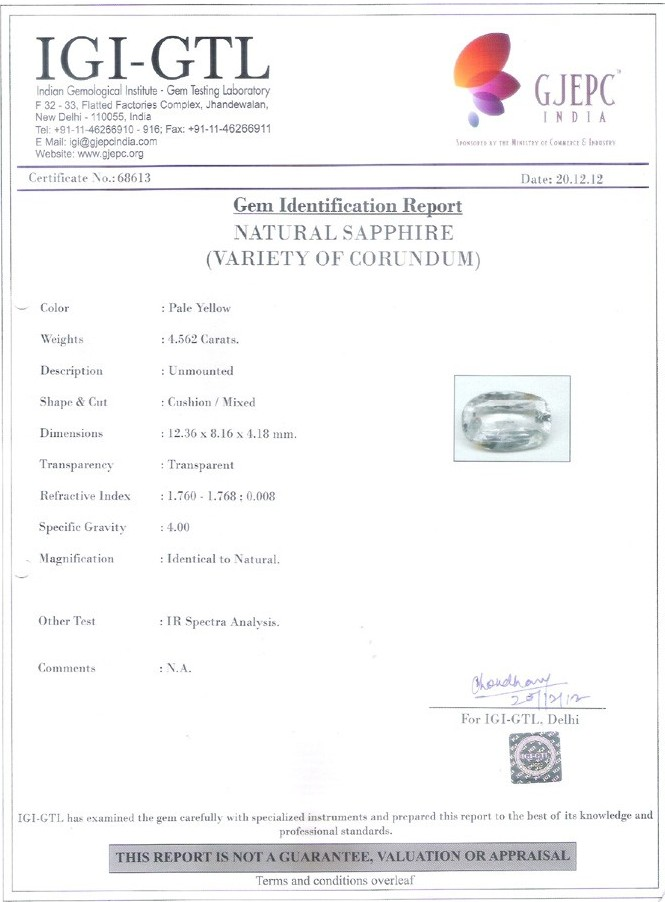 Pukhraj Government Lab Certificate