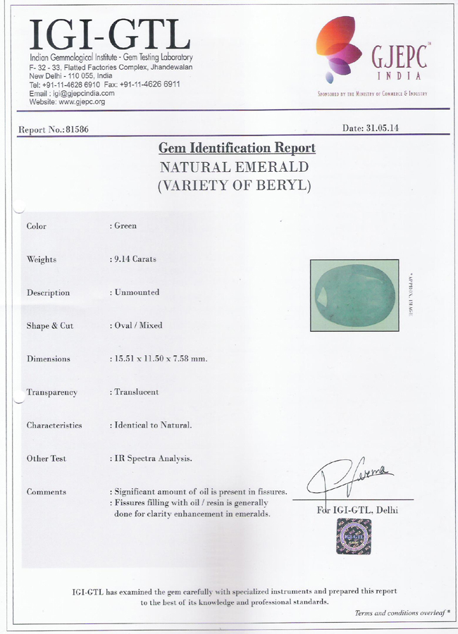 Government lab certified panna stone