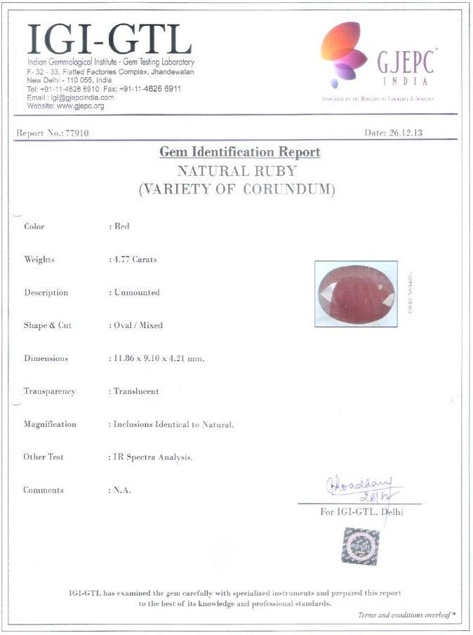 Govt Lab Certified Manik Stone
