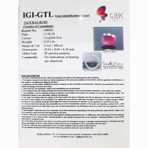 4.61 Ratti Natural Mozambique Ruby with Govt. Lab Certificate