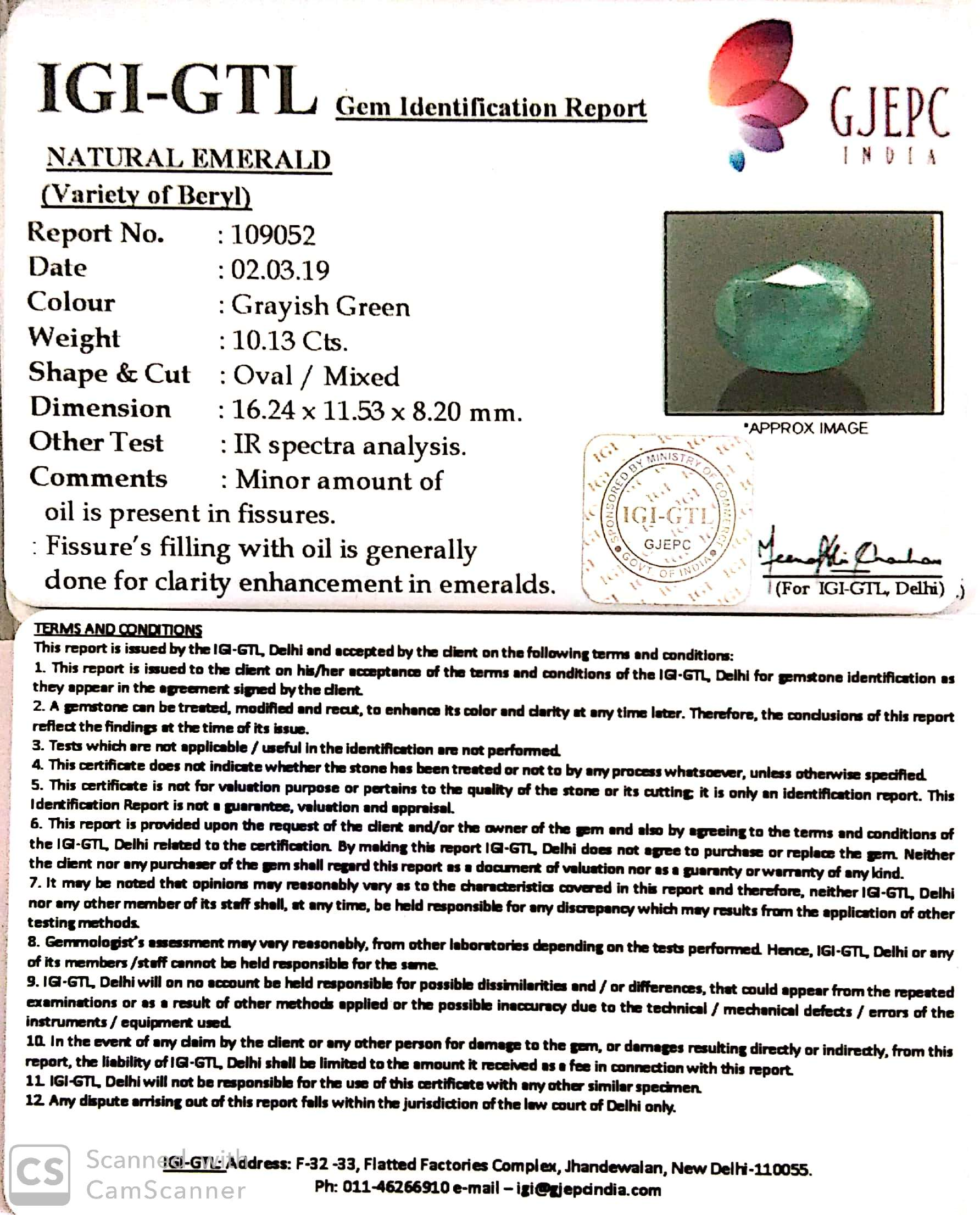 11.26 Ratti Natural Panna Stone With Govt. Lab Certified (2331)