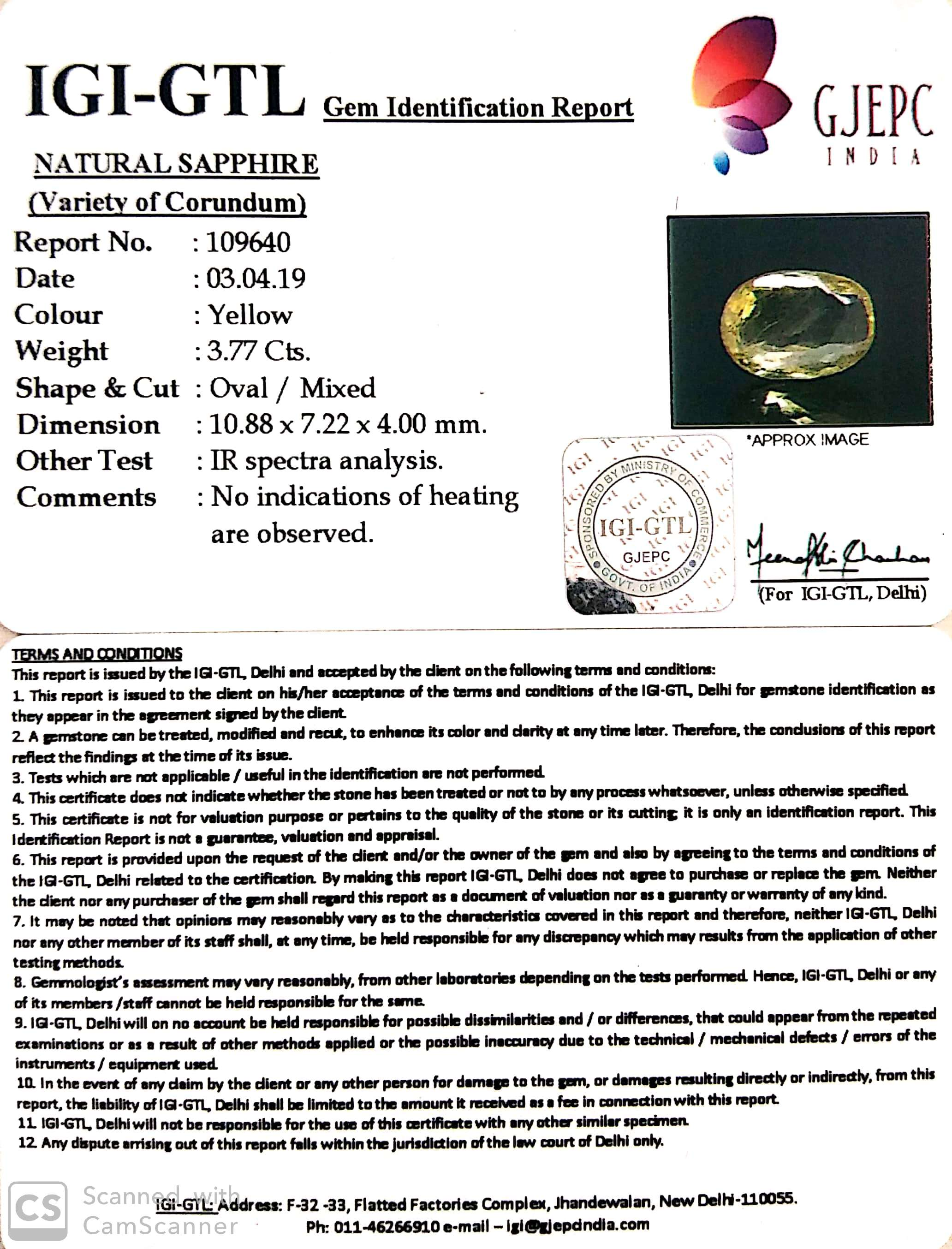 4.19 Ratti Natural Yellow Sapphire With Govt Lab Certificate-(23310)