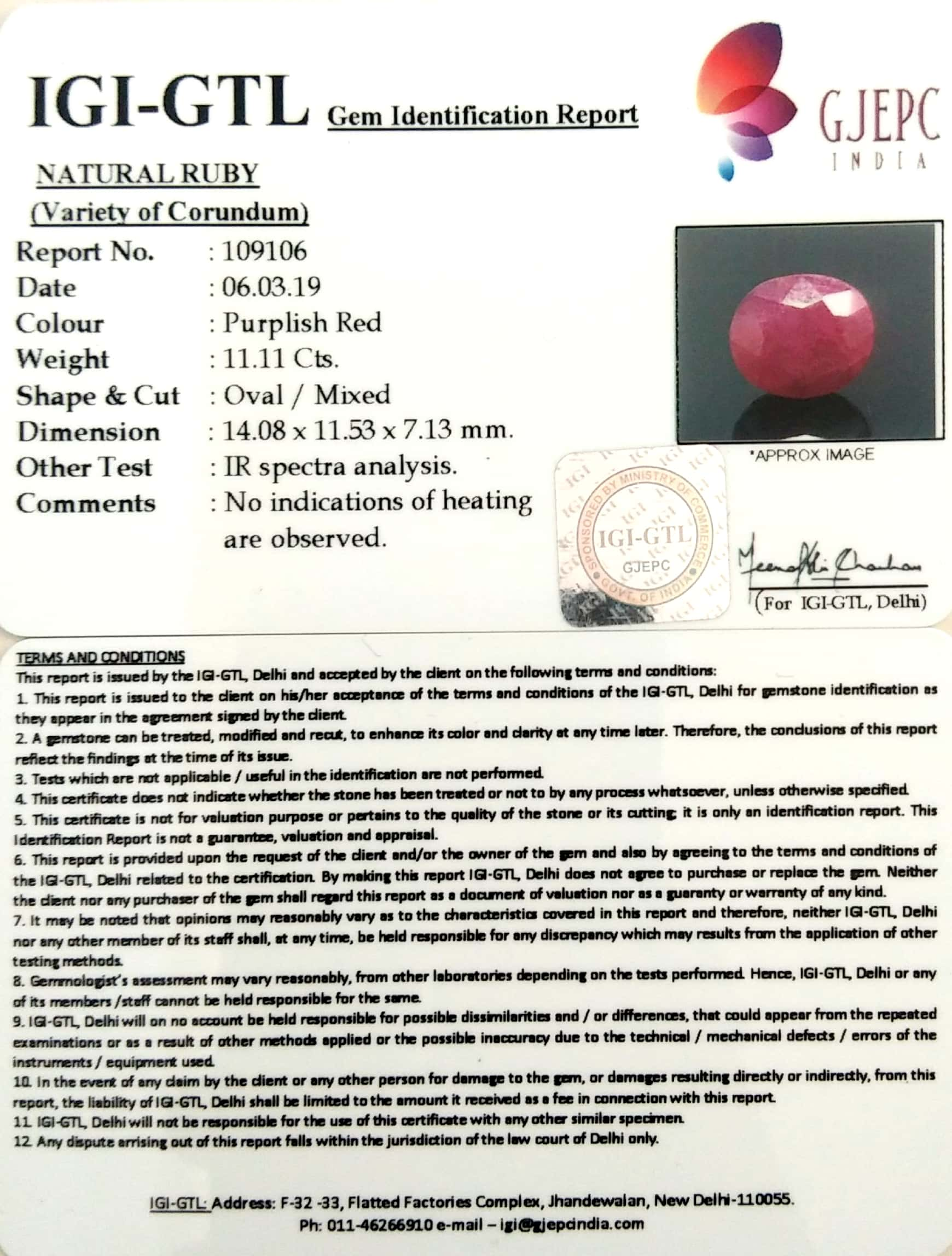 12.34 Ratti Natural New Burma Ruby with Govt. Lab Certificate-(3441)