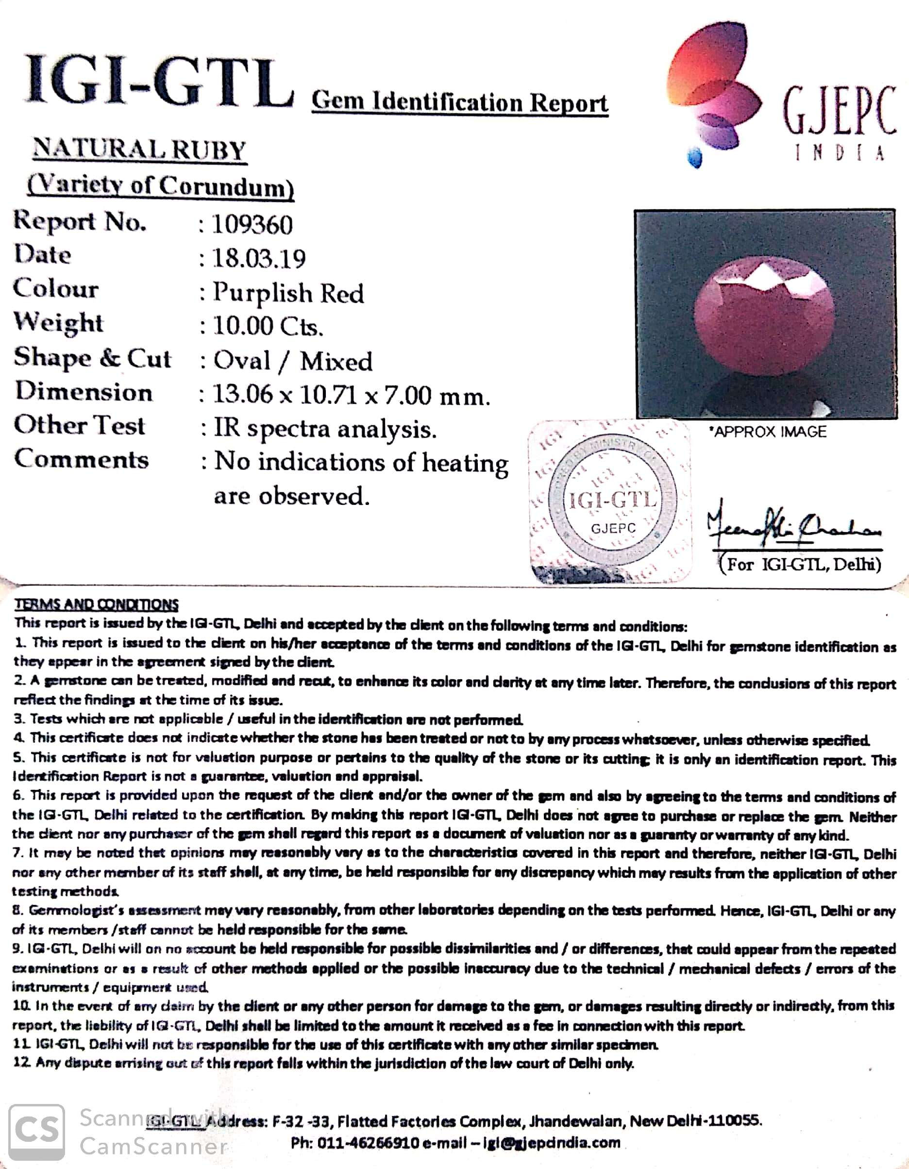 11.11 Ratti Natural New Burma Ruby with Govt. Lab Certificate-(5661)