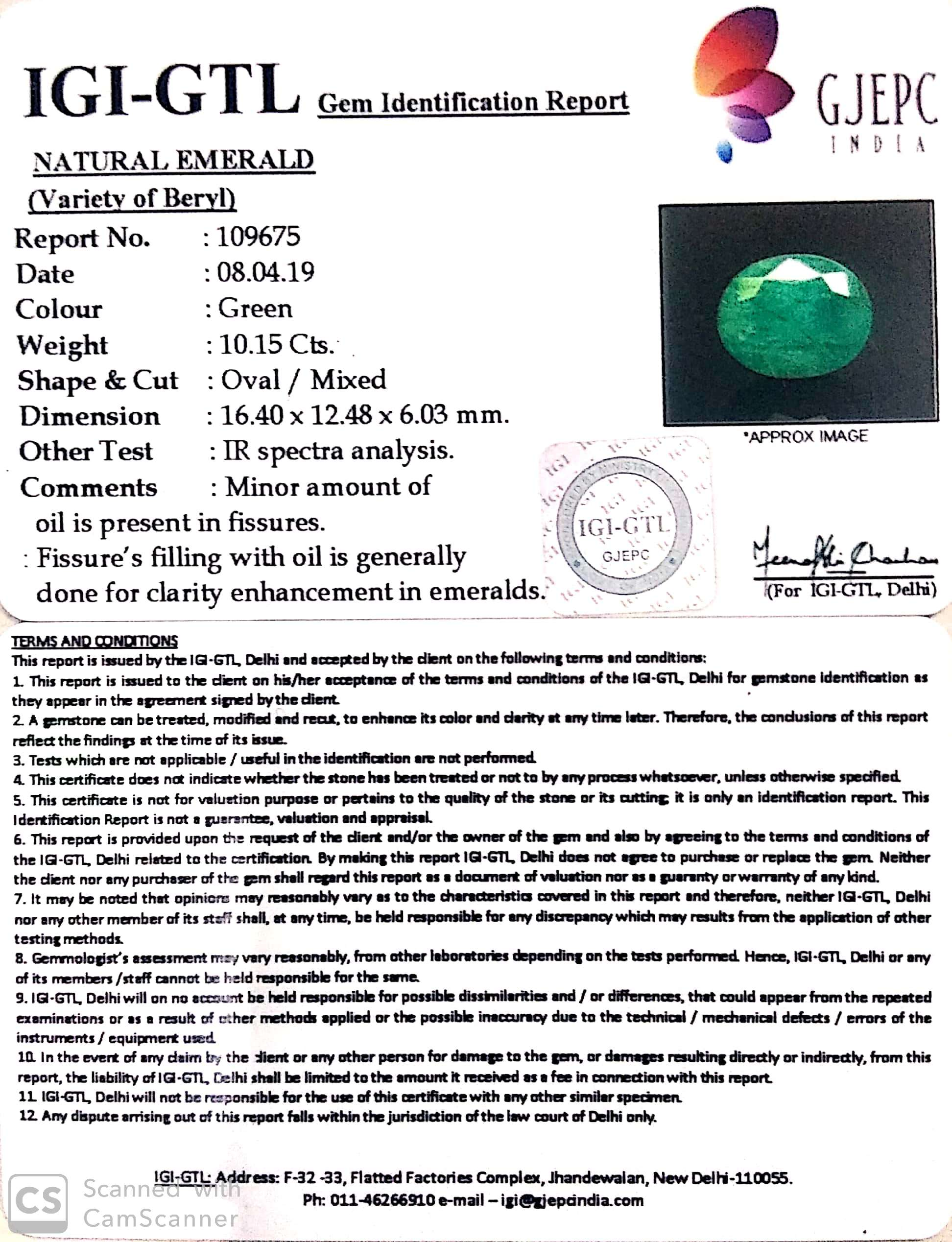 11.28 Ratti Natural Emerald with Govt Lab Certified-(1221)