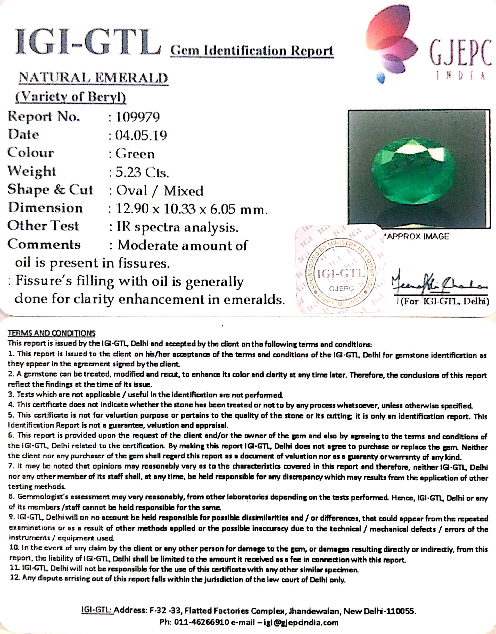5.81 Ratti Natural Panna Stone With Govt. Lab Certified (34410)