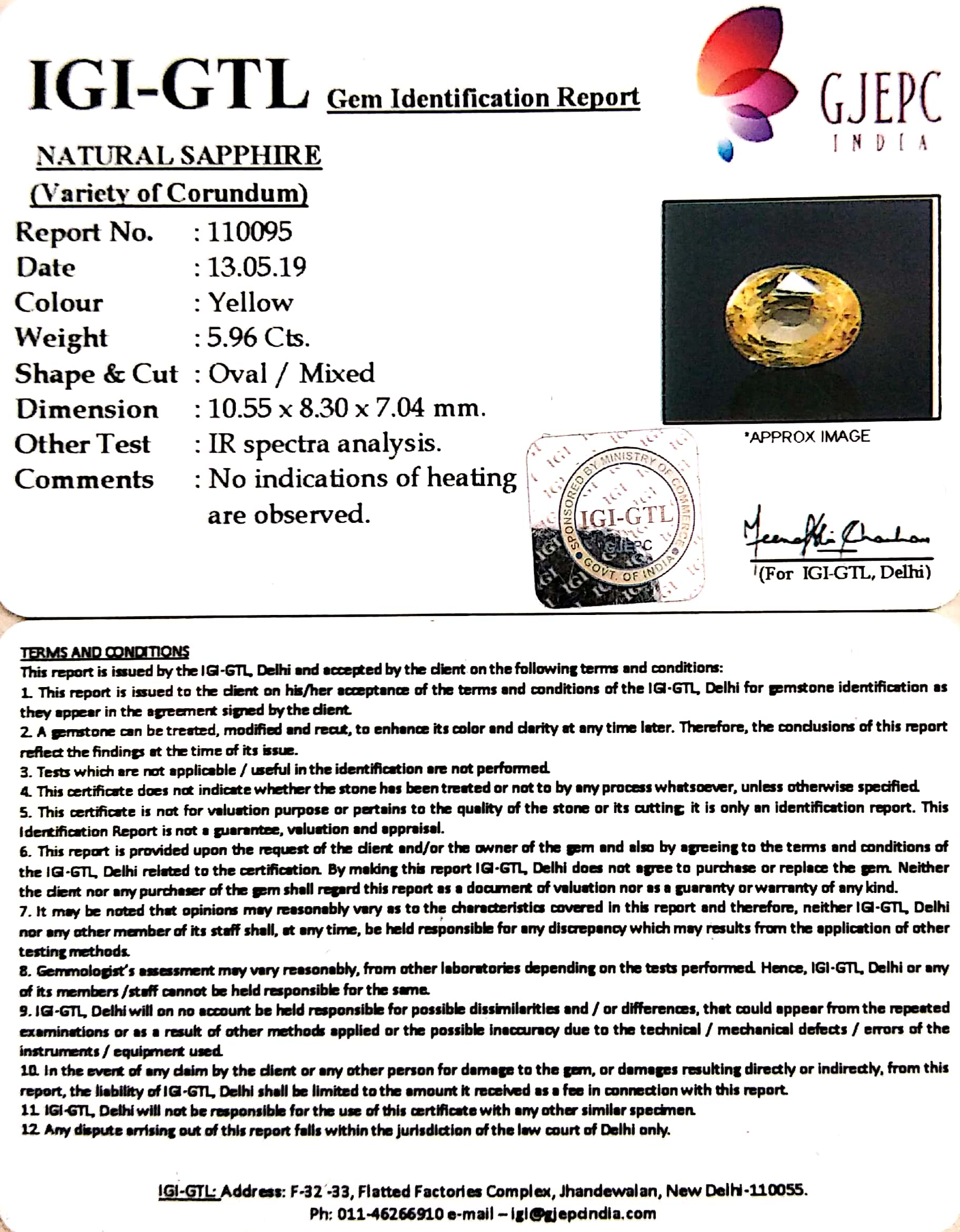 6.62 Ratti Natural Yellow Sapphire With Govt Lab Certificate-(23310)