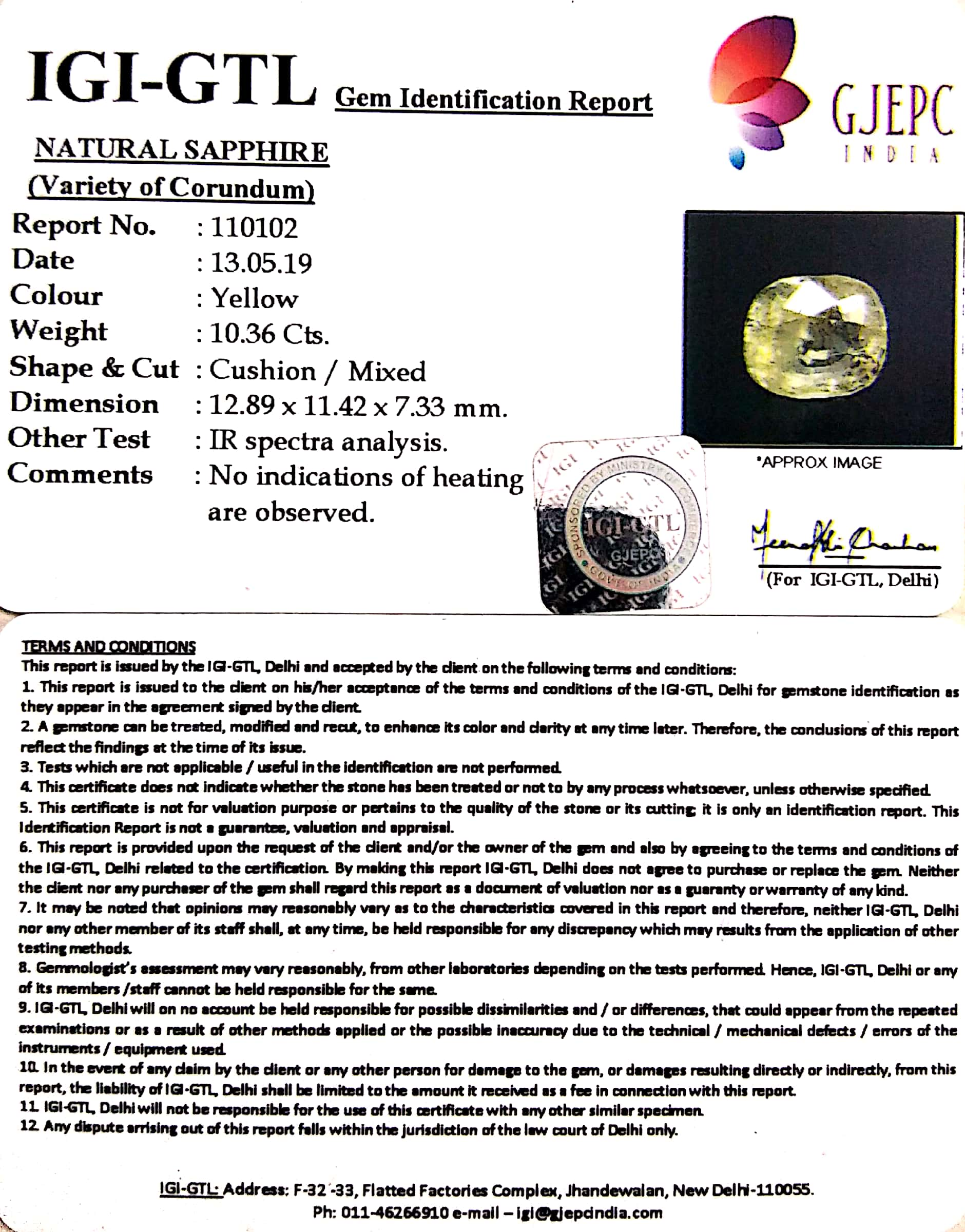 Natural Yellow Sapphire  and blue sapphire With Govt Lab Certificate (110102 106664)