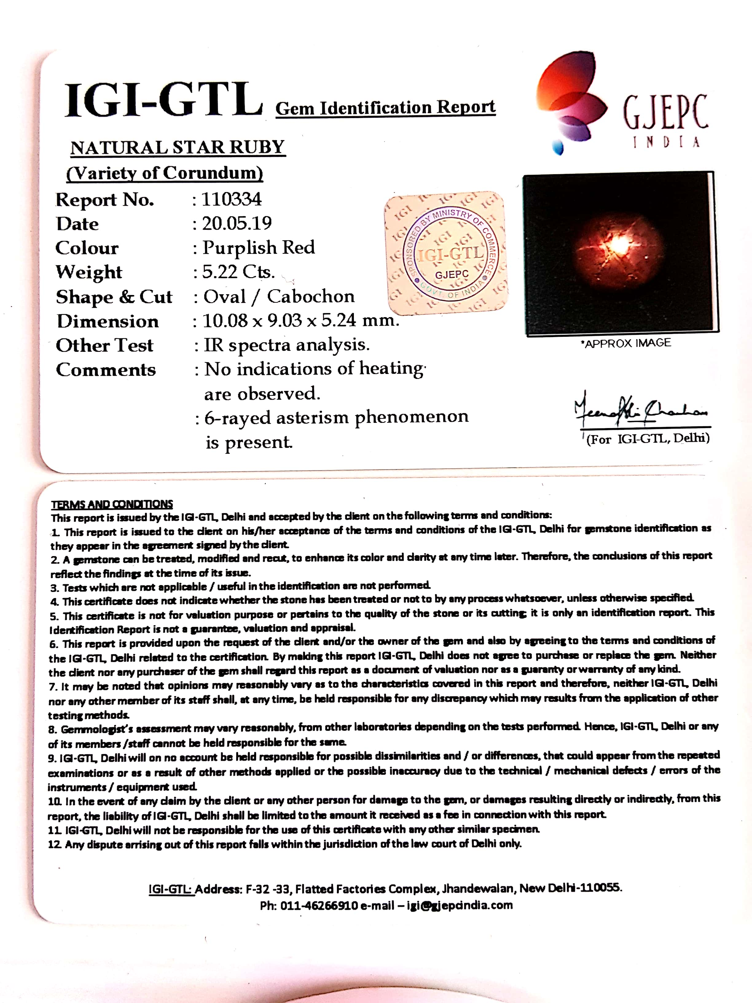 5.80 Natural Star Ruby With Govt.Lab Certificate-(1221)