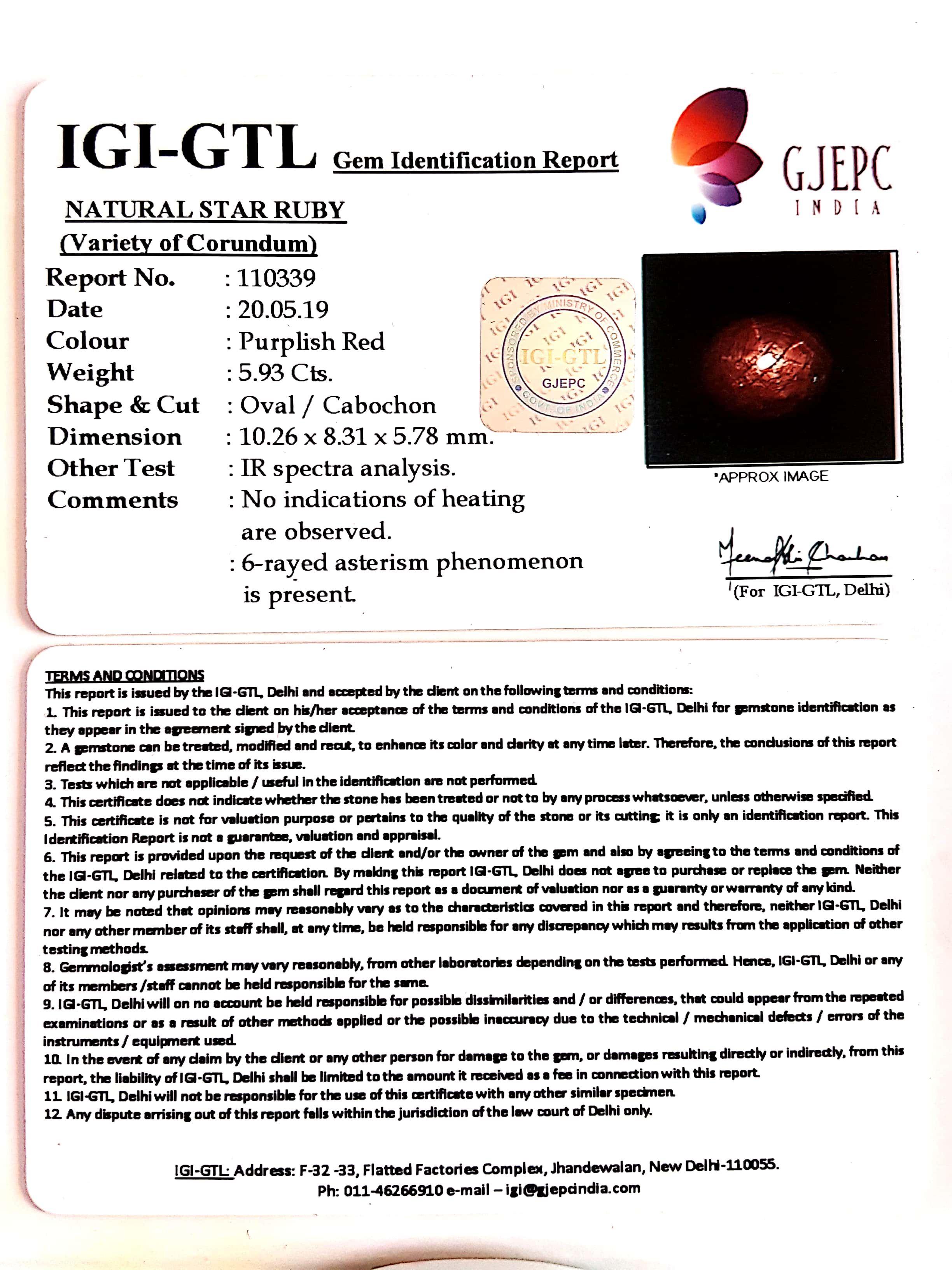 6.59 Natural Star Ruby With Govt.Lab Certificate-(1221)