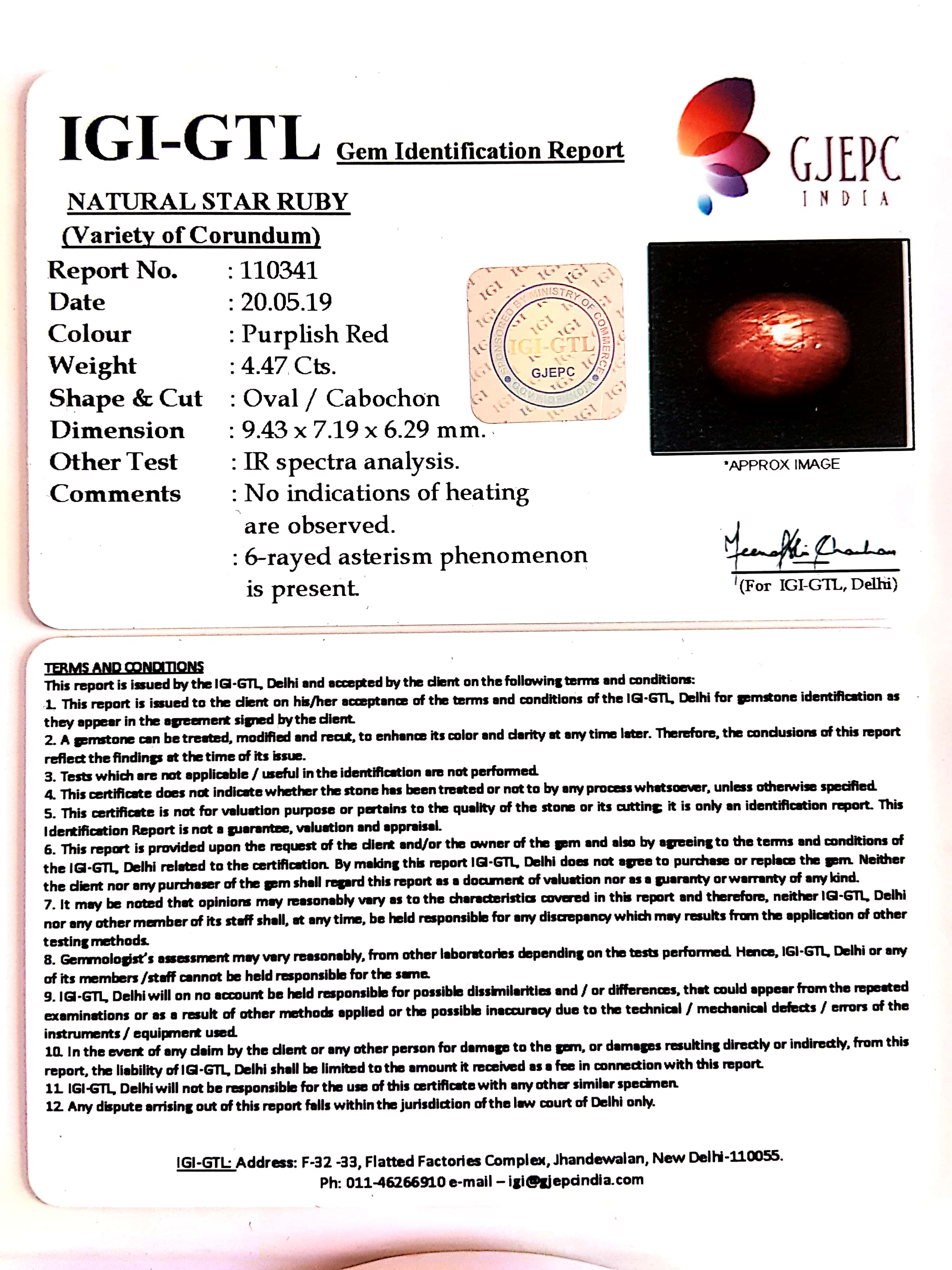 4.97 Natural Star Ruby With Govt.Lab Certificate-(1221)