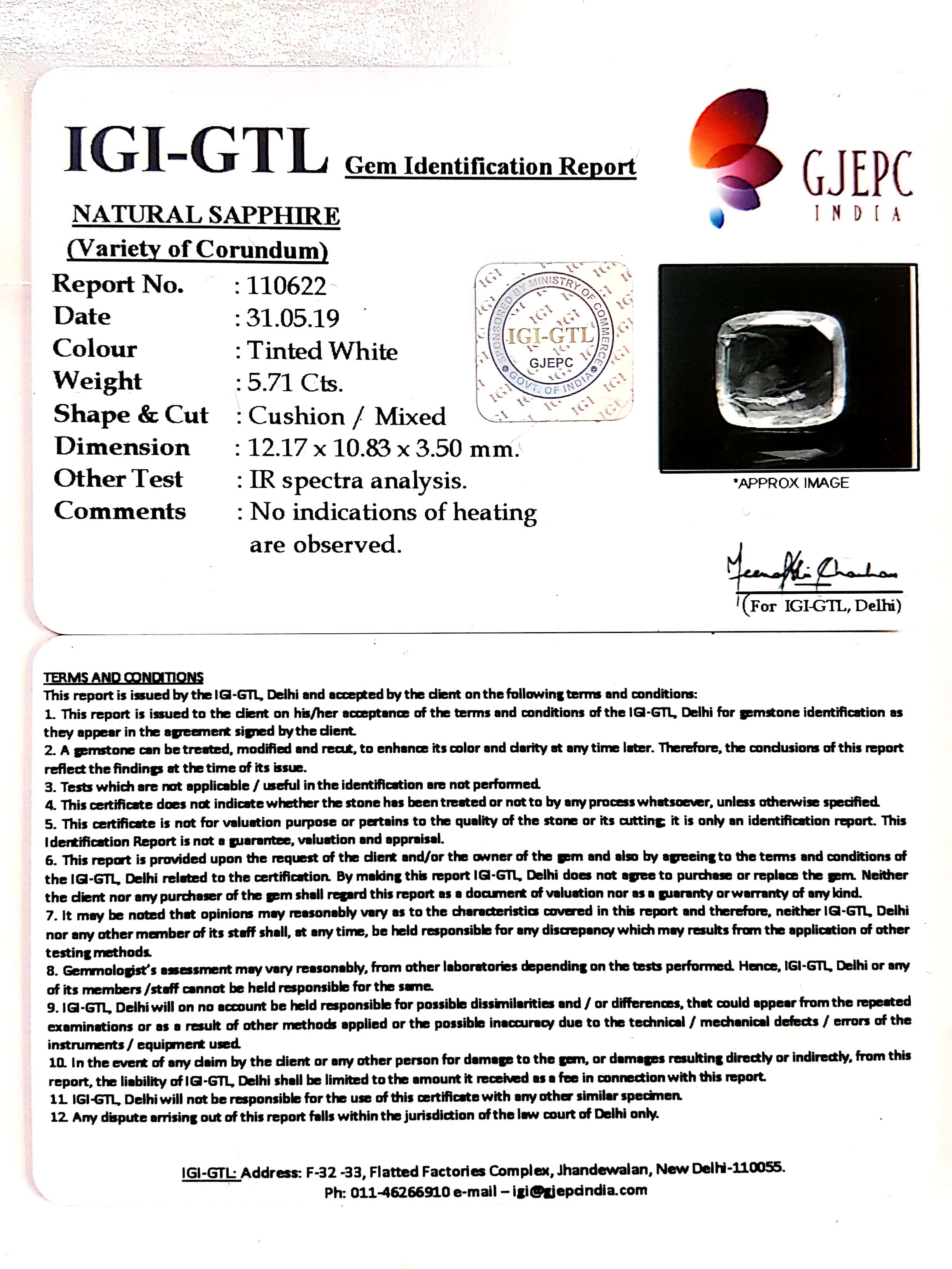 6.34 Ratti Natural White Sapphire with Govt Lab Certificate - (16650)
