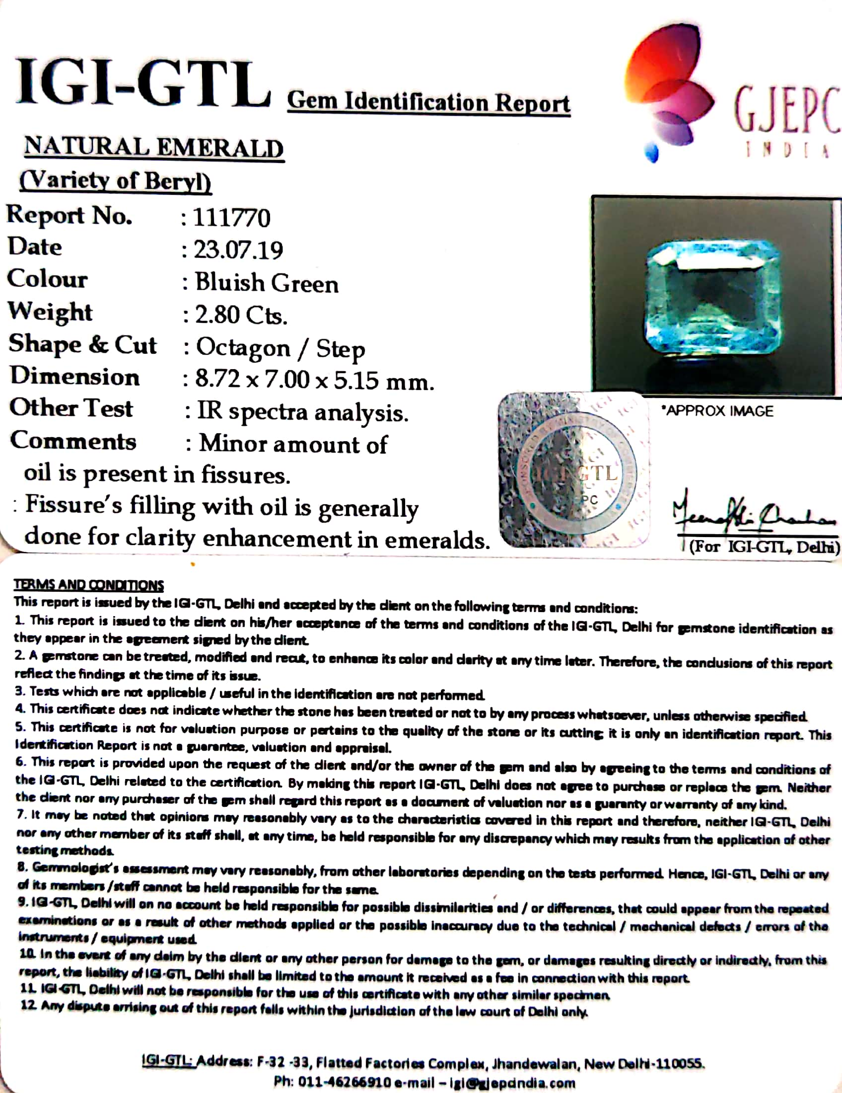 3.11 Ratti Natural Panna Stone With Govt. Lab Certified (23310)