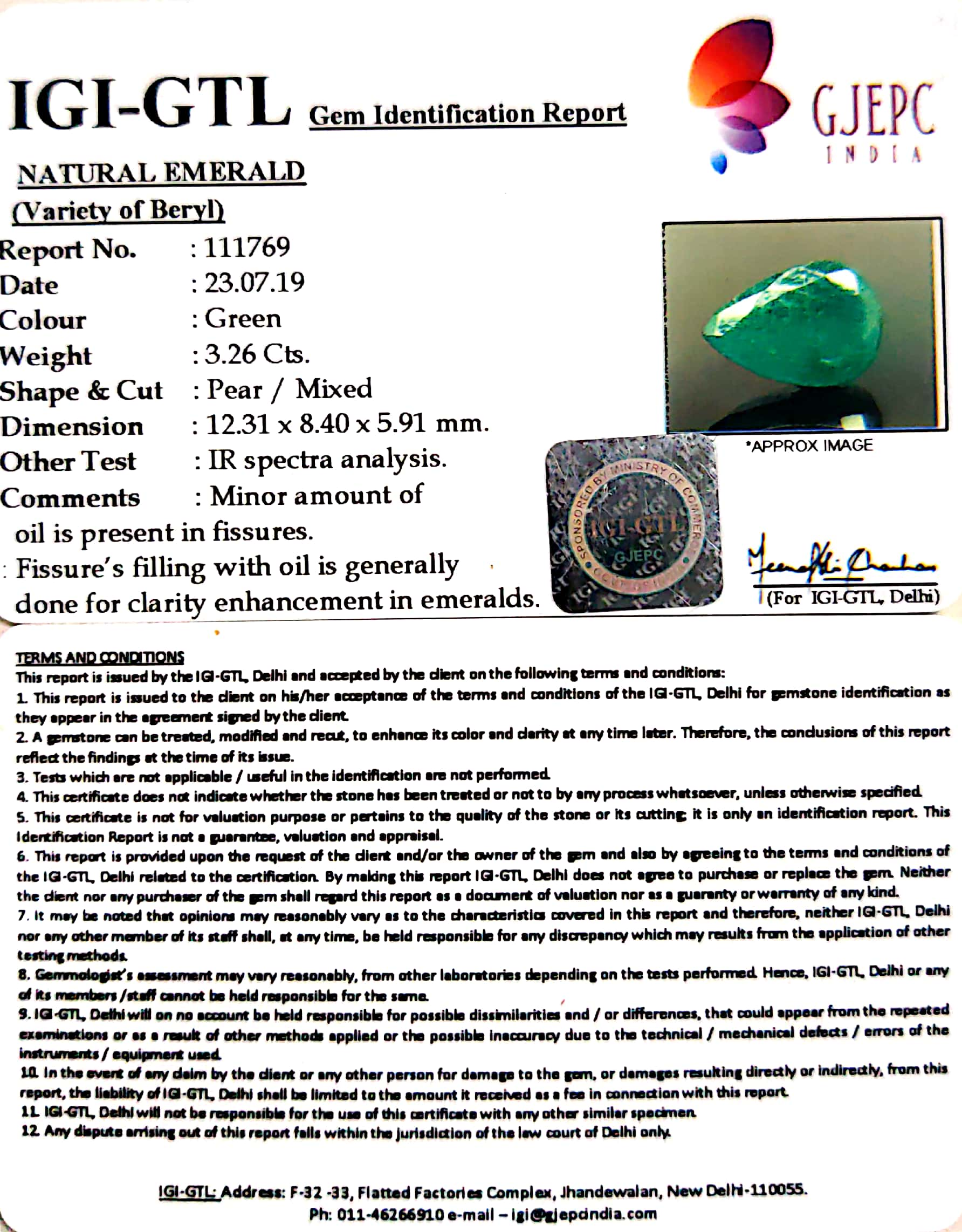 3.73 Ratti Natural Panna Stone with Govt. Lab Certified-(12210)