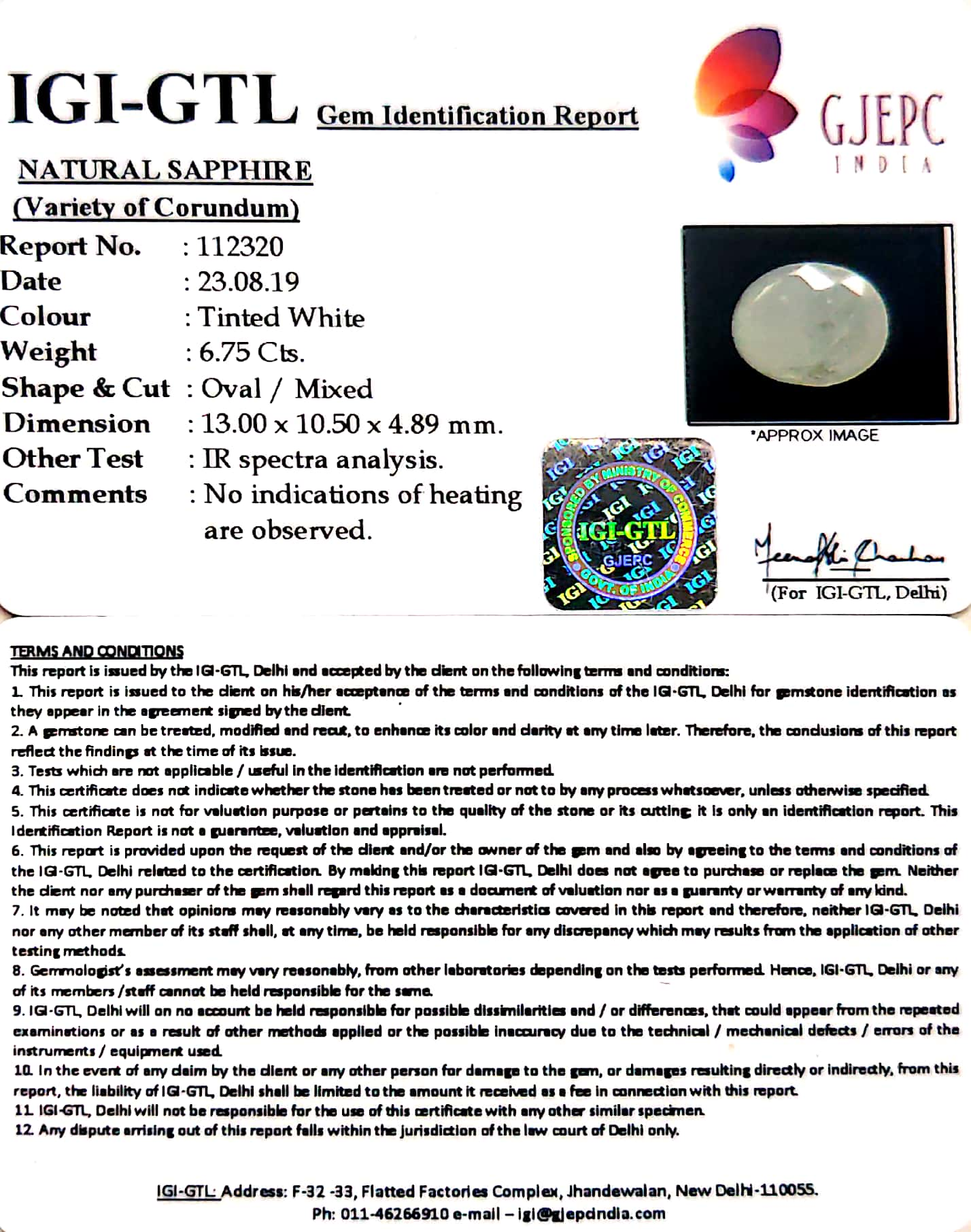 7.50 Ratti Natural White Sapphire with Govt Lab Certificate - (2331)