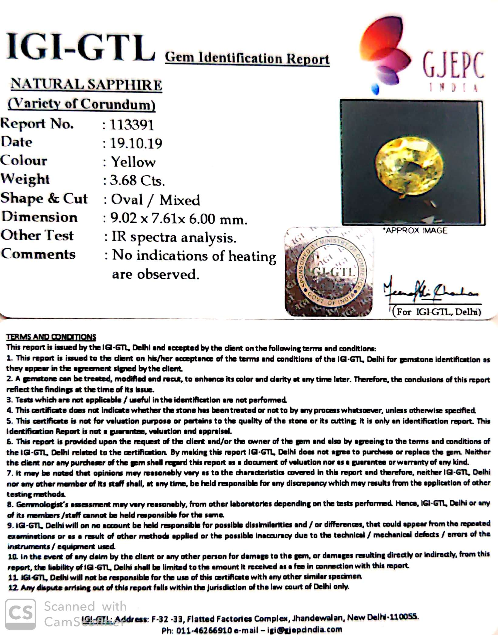 4.08 Ratti Natural Yellow Sapphire with Govt Lab Certificate-(34410)