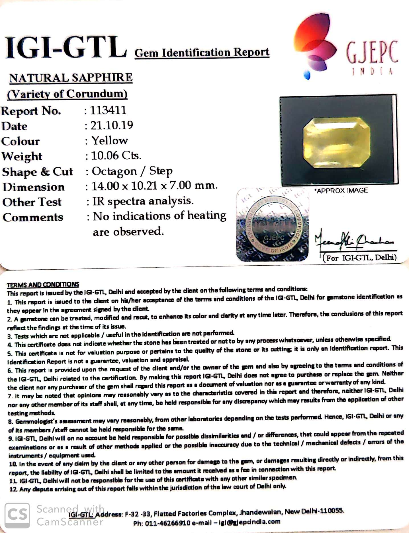 11.17 Ratti Natural Yellow Sapphire with Govt Lab Certificate-(16650)