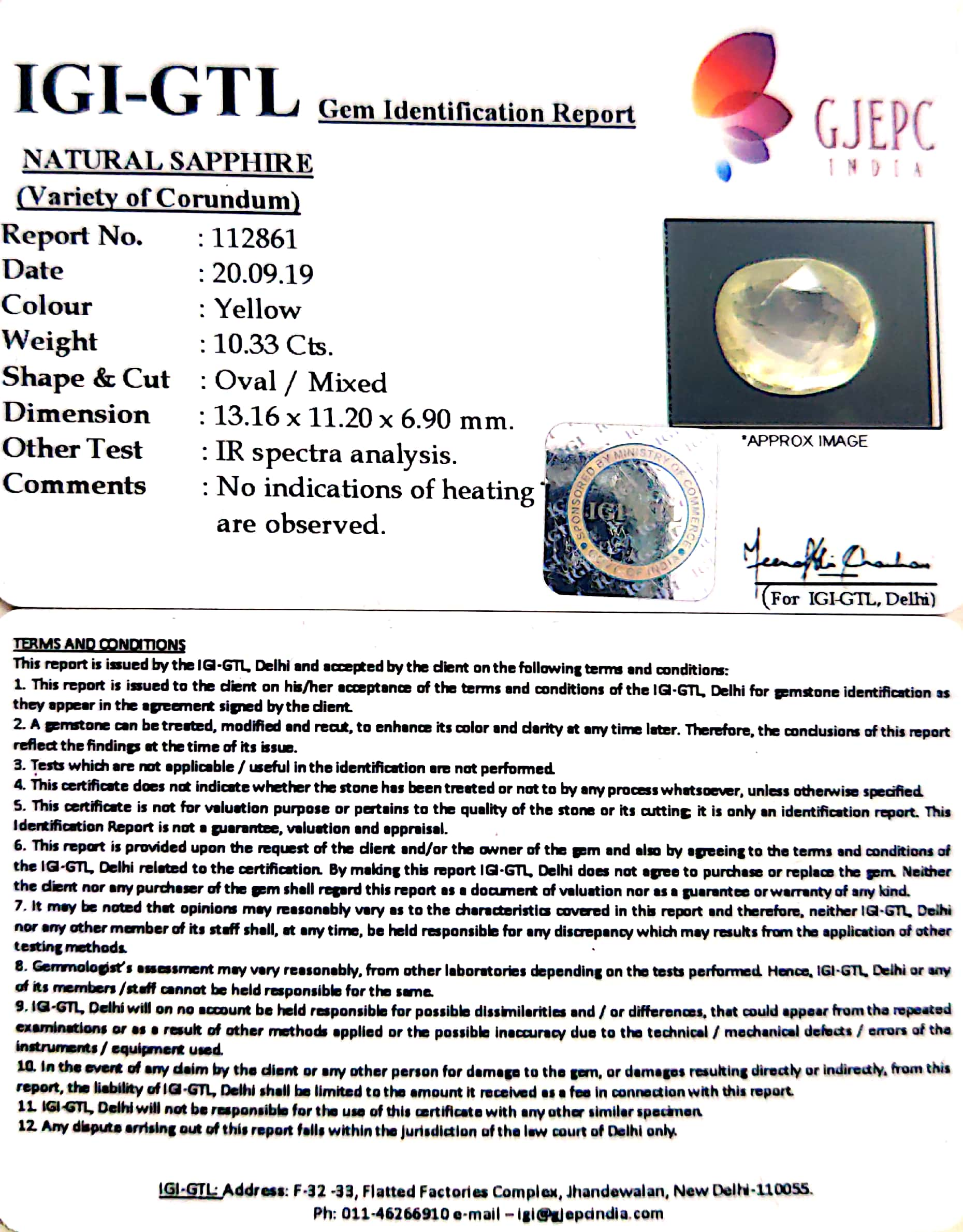 11.48 Ratti Natural Yellow Sapphire with Govt Lab Certificate-(8991)