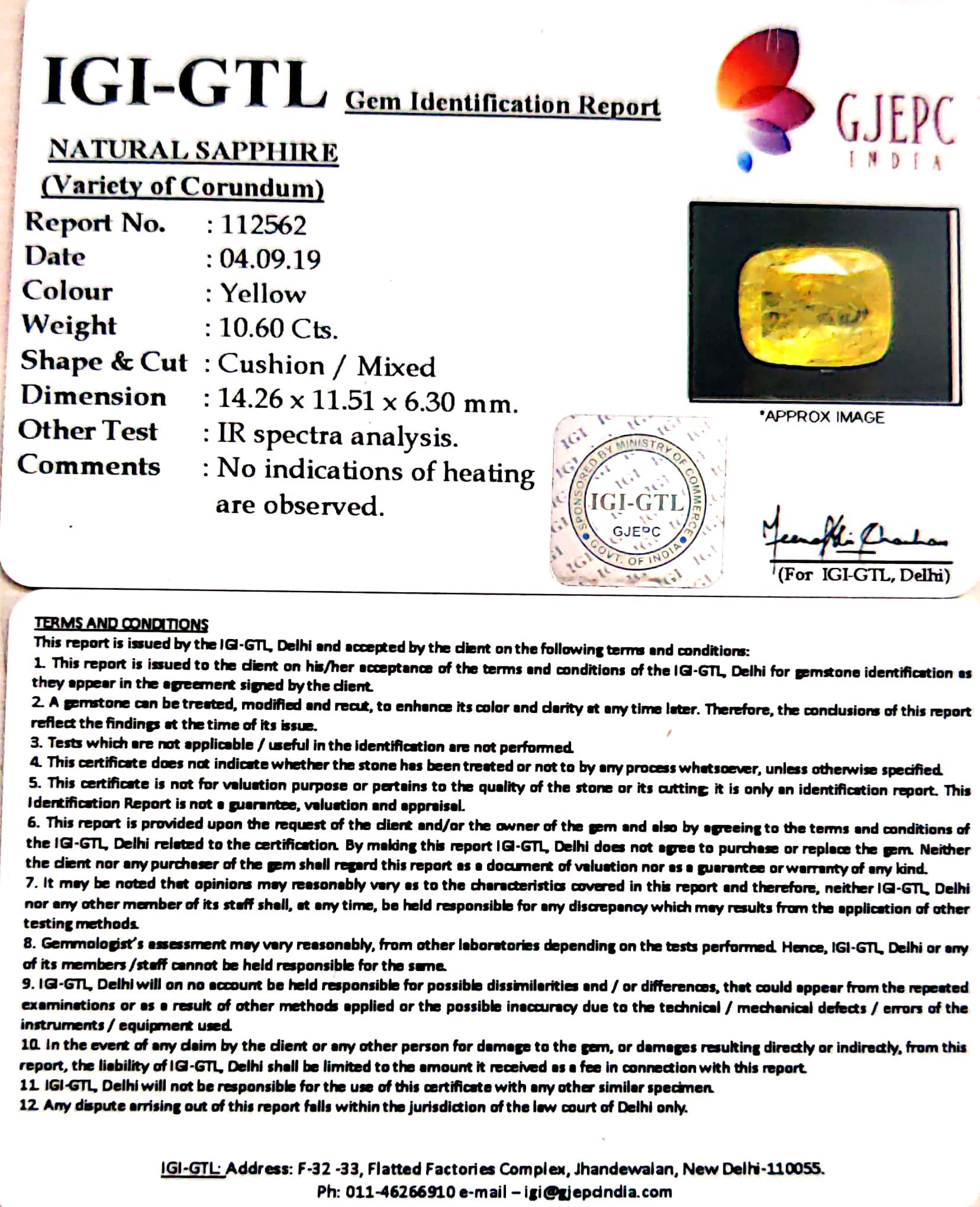 11.78 Ratti Natural Yellow Sapphire with Govt Lab Certificate-(8991)