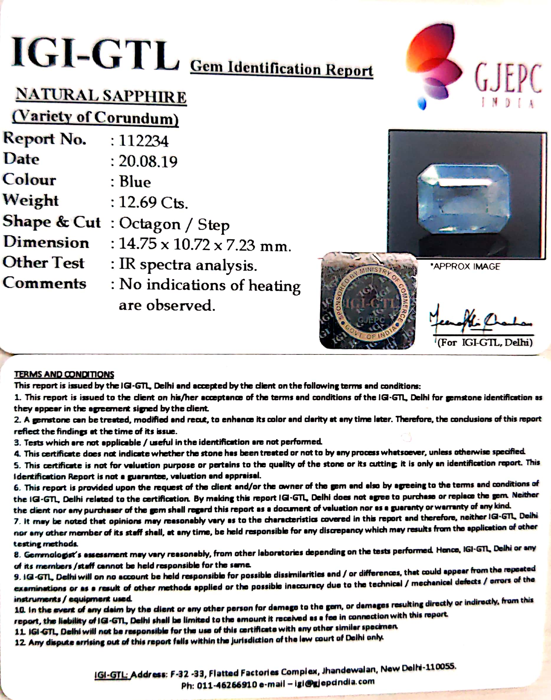 14.07 Ratti Natural Blue Sapphire With Govt Lab Certified-(6771)