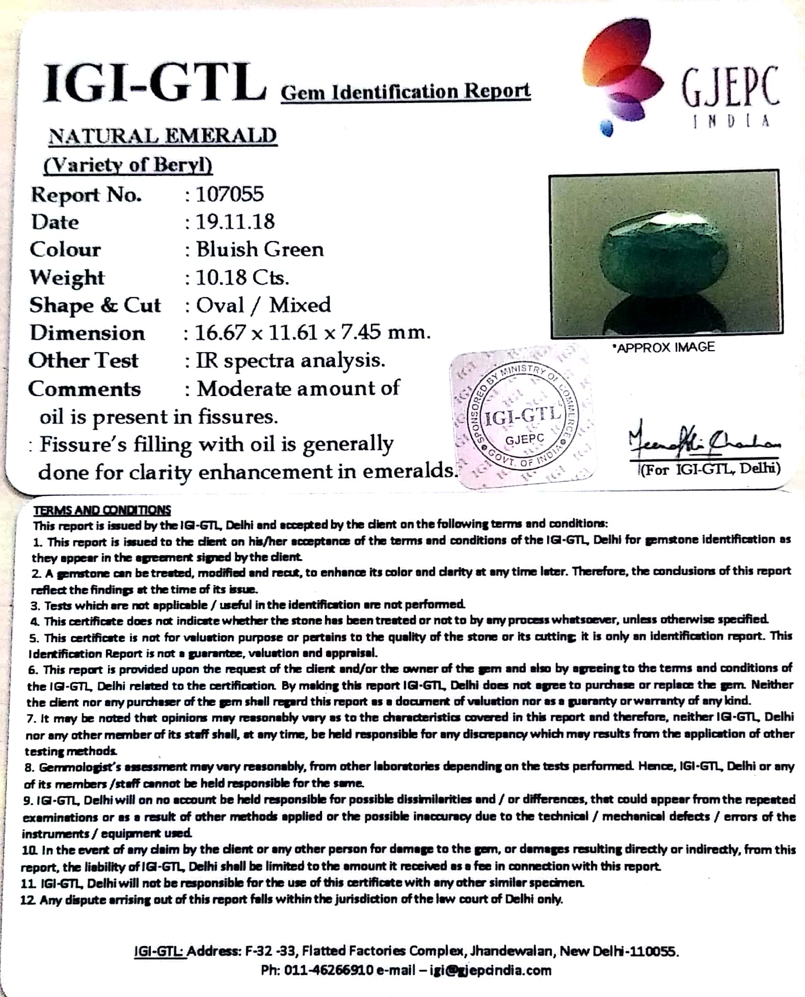11.31 Ratti Natural Panna Stone With Govt. Lab Certified (2331)