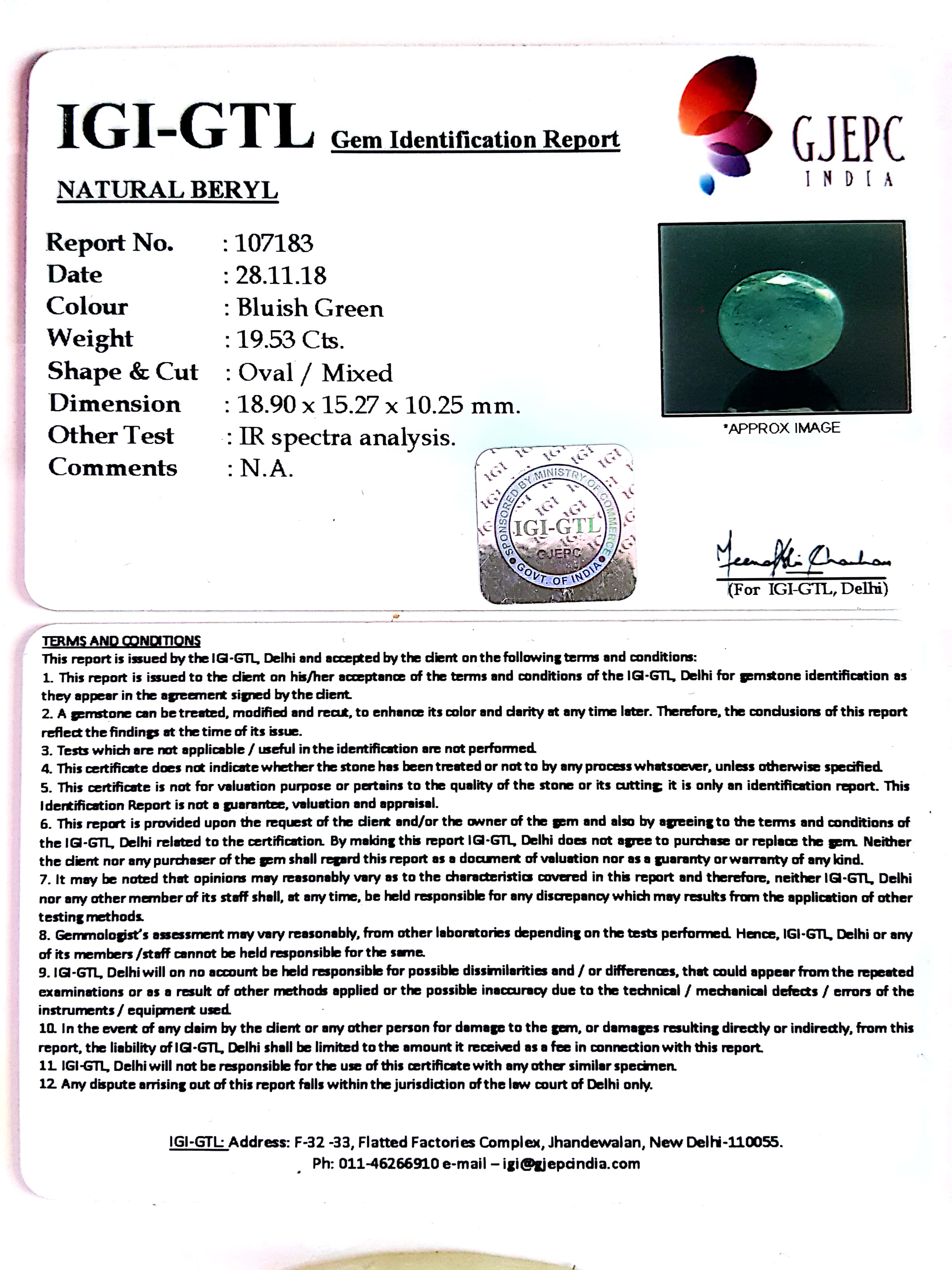 21.70 Ratti Natural Panna Stone with Govt. Lab Certified-(2331)
