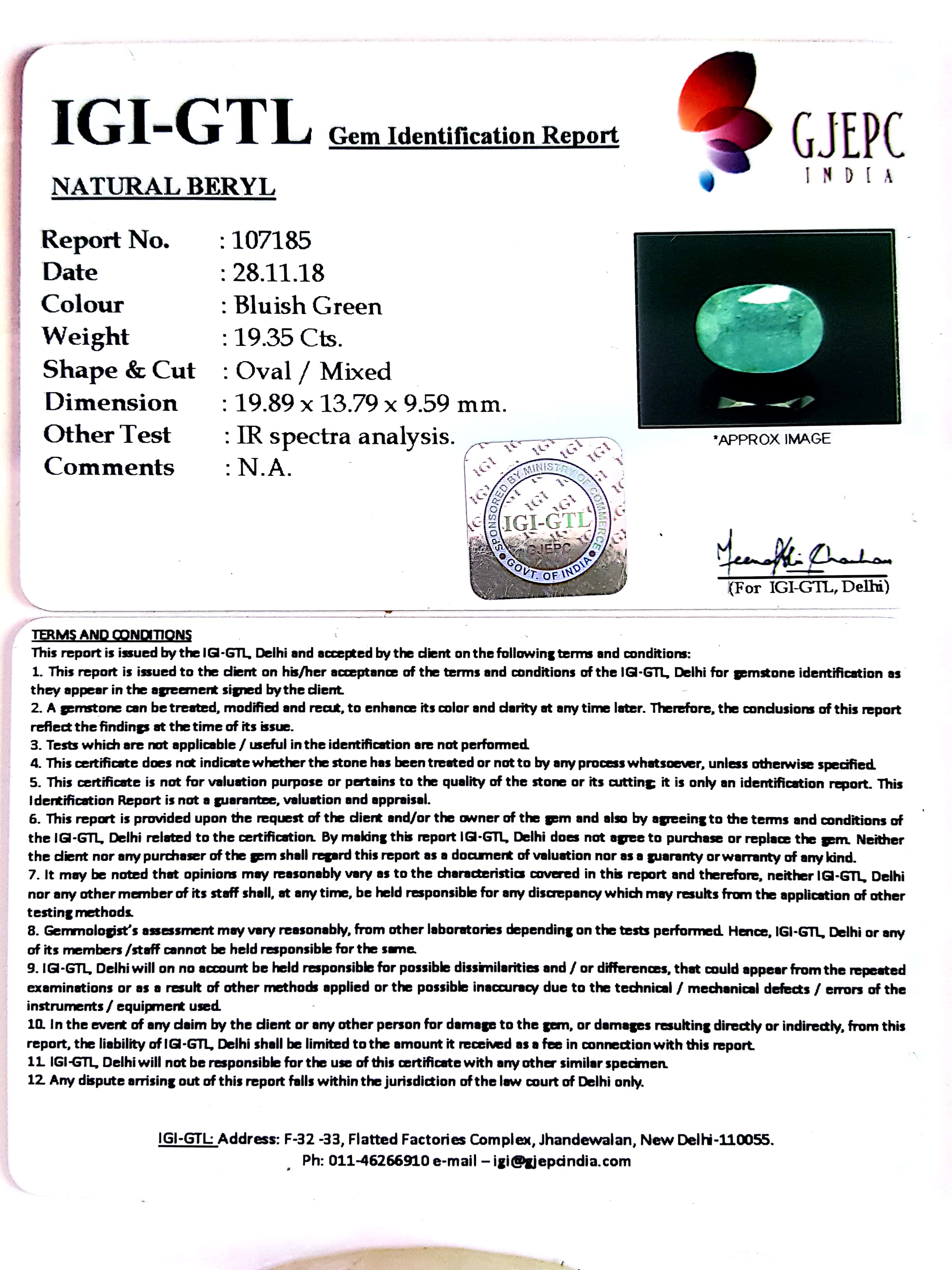 21.50 Ratti Natural Panna Stone with Govt. Lab Certified-(2331)