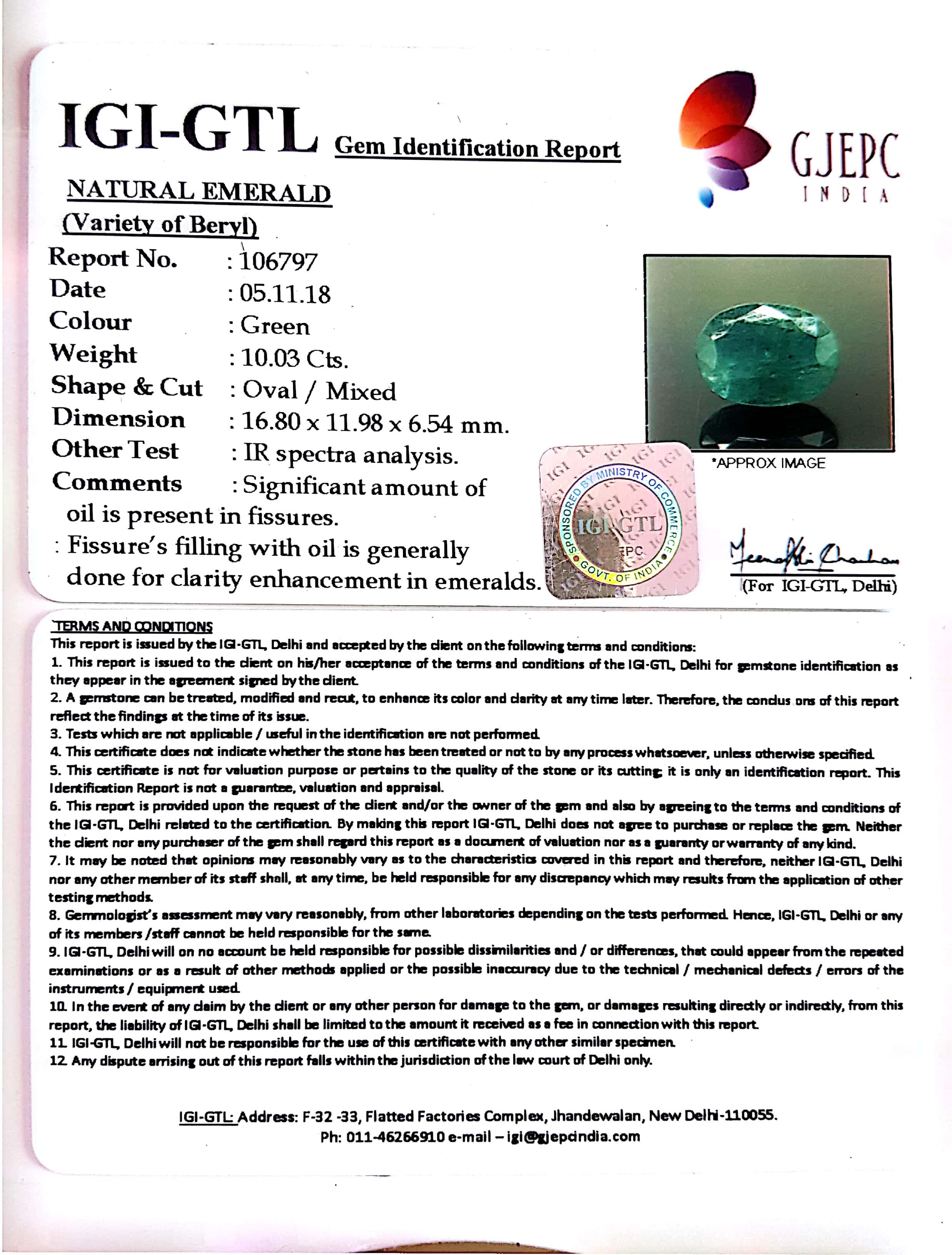 11.14 Ratti Natural Panna Stone With Govt. Lab Certified (2331)