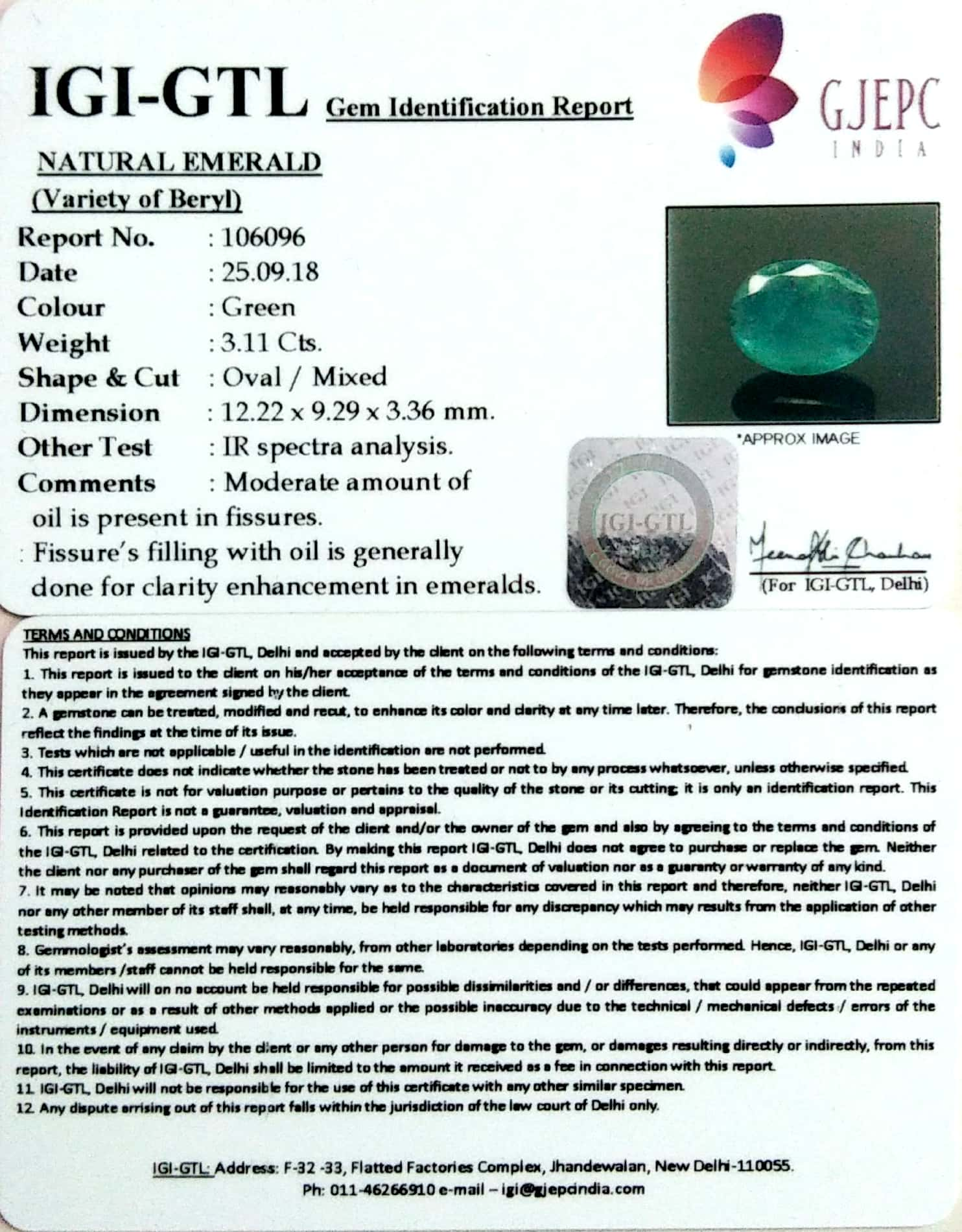 3.46 Ratti Natural Panna Stone With Govt. Lab Certified (2331)