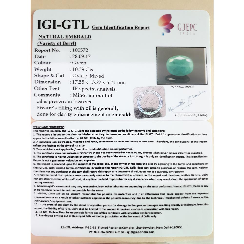 11.54 Ratti Natural Panna Stone with Govt. Lab Certified-(3441)