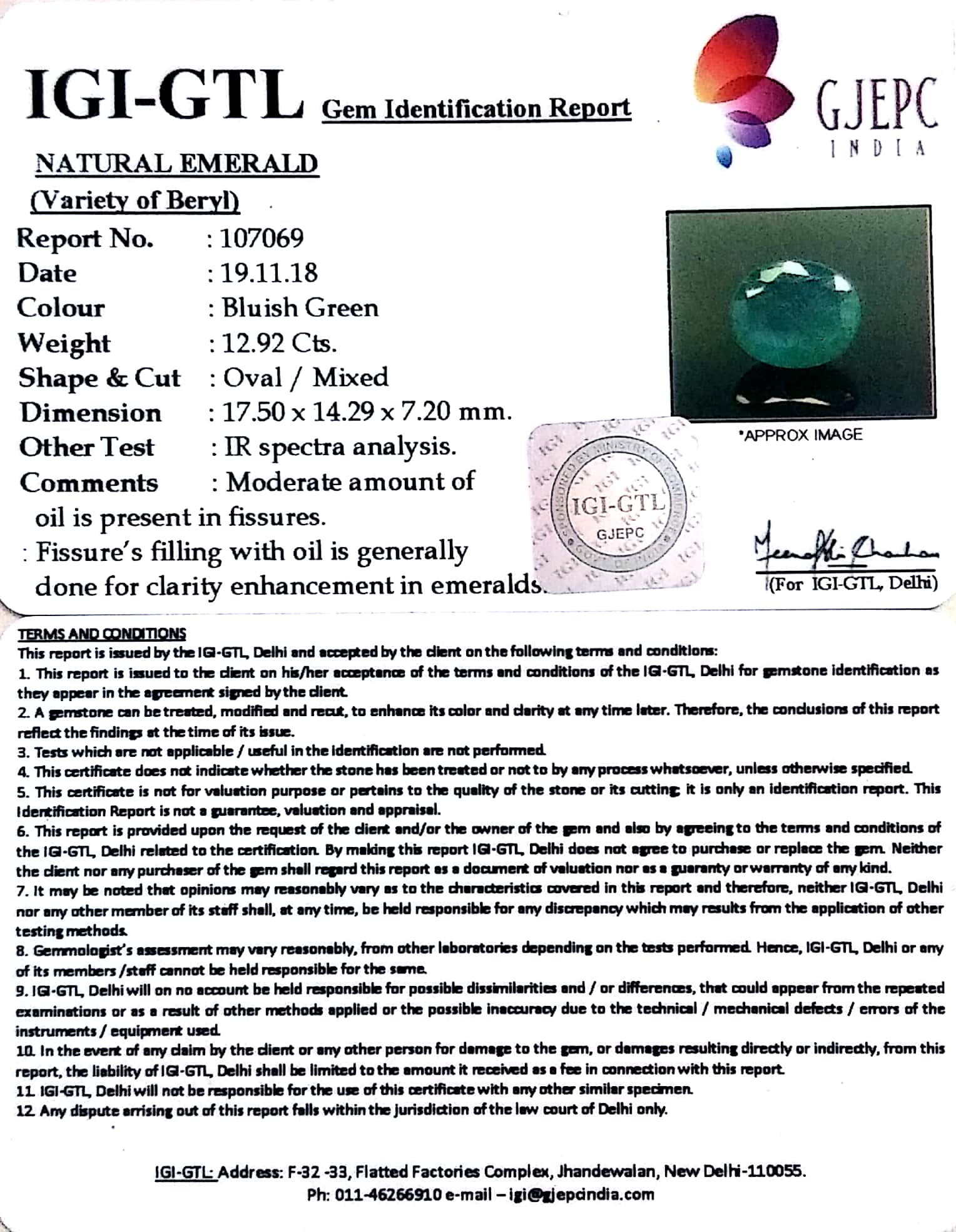 14.36 Ratti Natural Panna Stone With Govt. Lab Certified (3441)