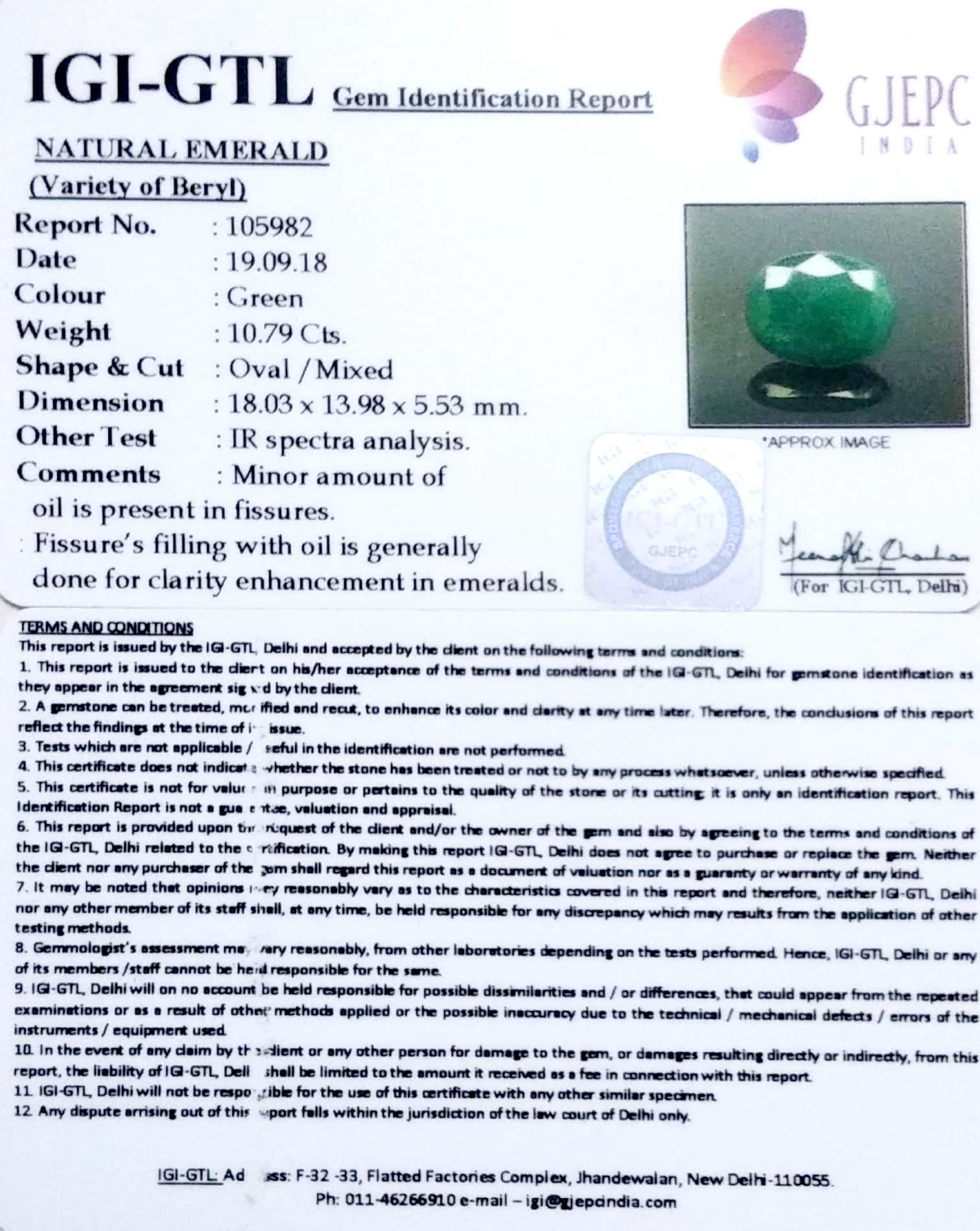 11.99 Ratti Natural Panna Stone with Govt. Lab Certified-4551