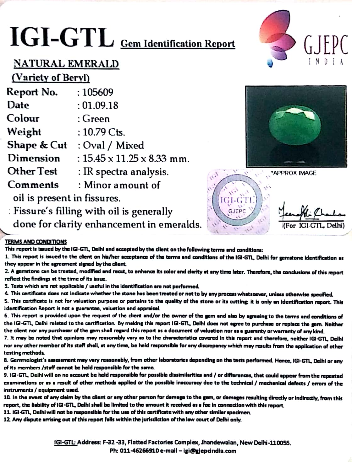 11.96 Ratti Natural Emerald Stone With Govt. Lab Certified (2331)