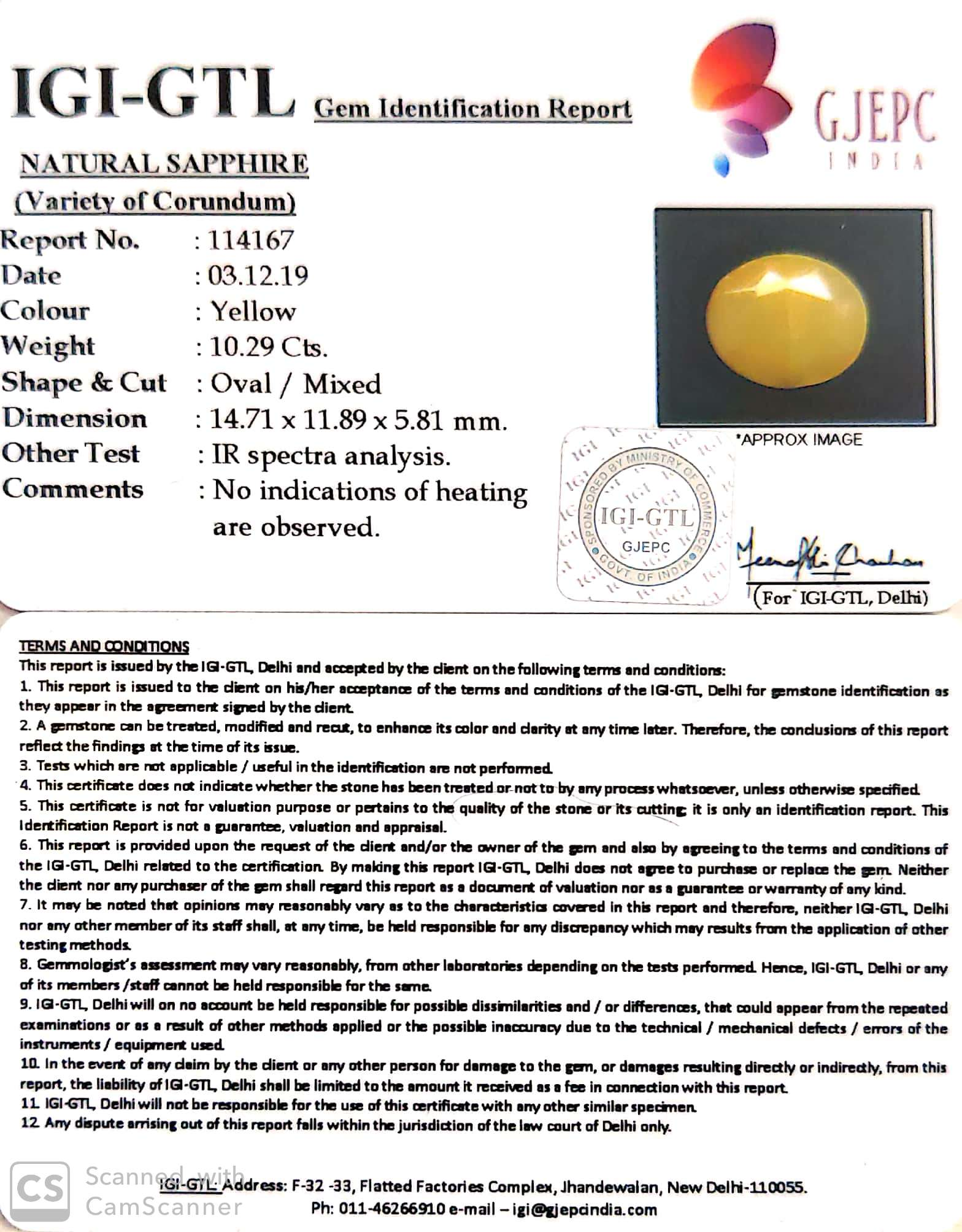 11.43 Ratti Natural Yellow Sapphire with Govt Lab Certificate-(1221)