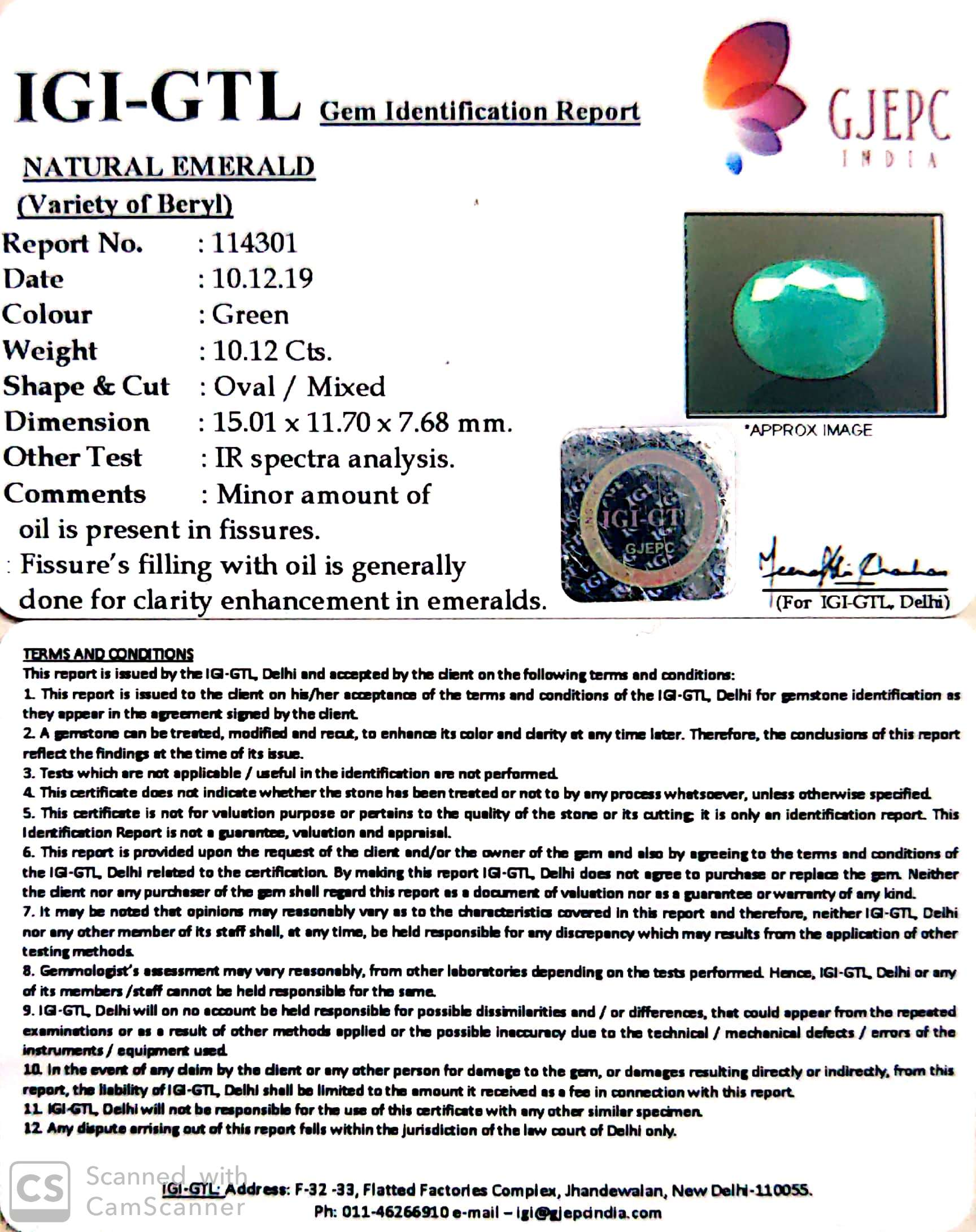 11.24 Ratti Natural Emerald Stone With Govt. Lab Certified (1221)