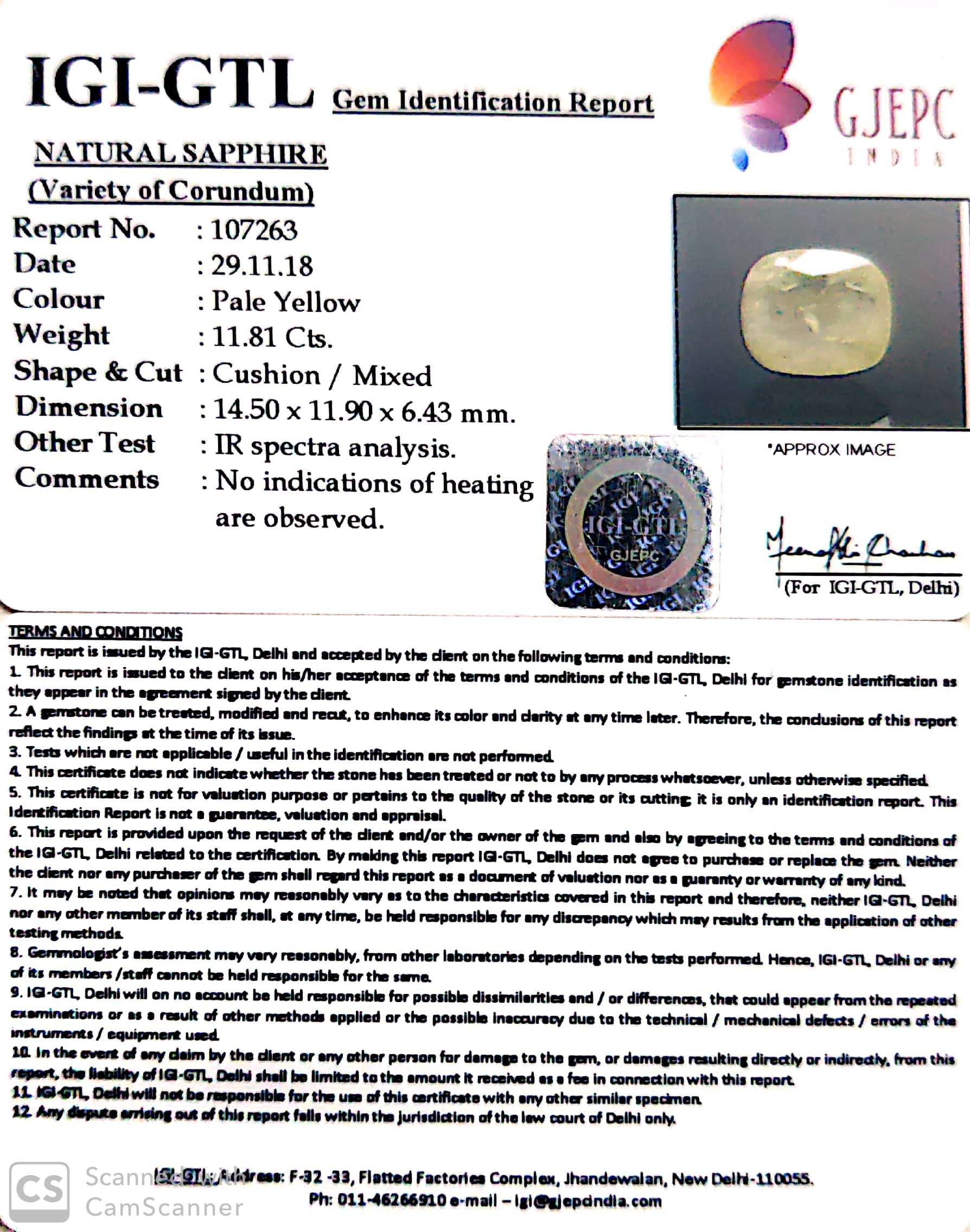 13.12 Ratti Natural Yellow Sapphire with Govt Lab Certificate-(4551)