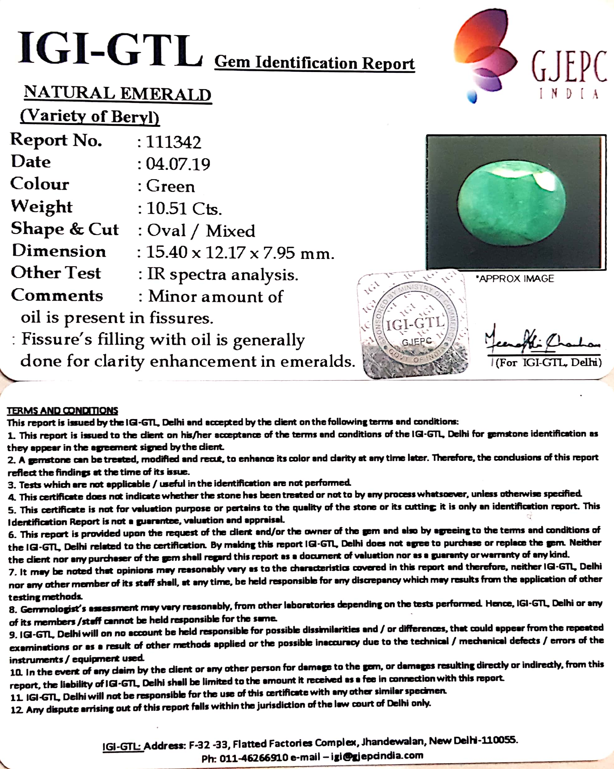 11.68 Ratti Natural Panna Stone With Govt. Lab Certified (1221)