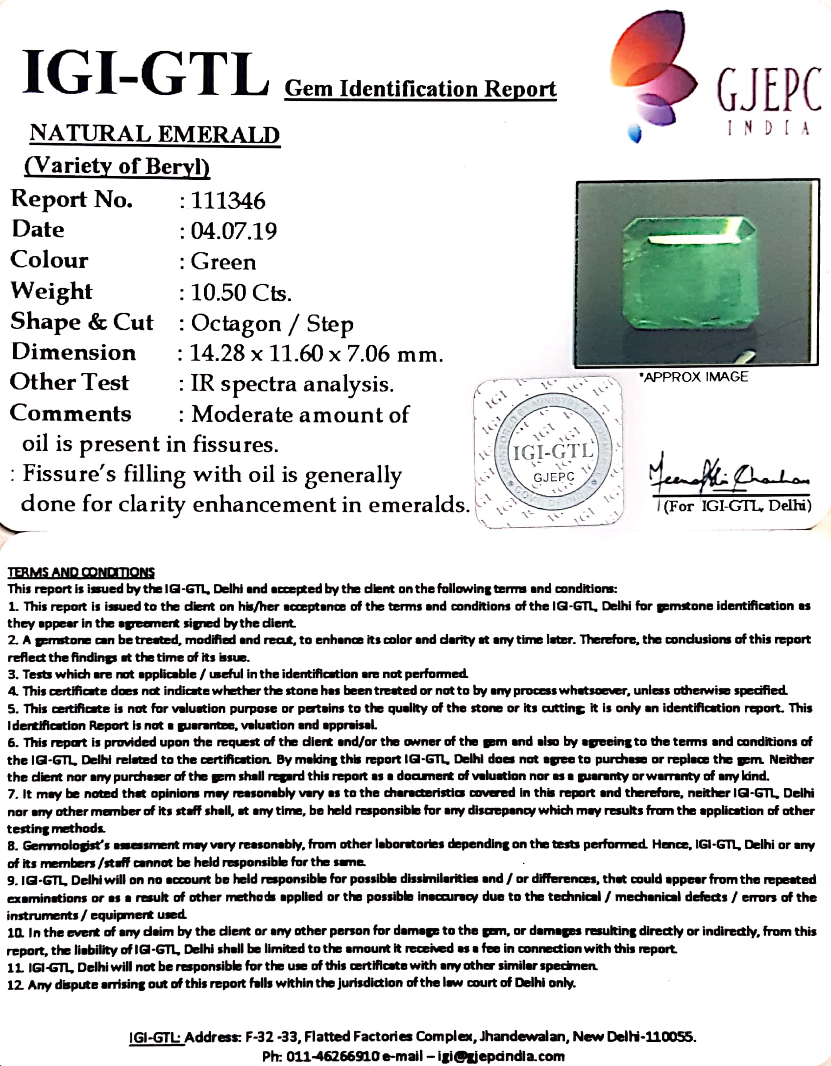 11.56 Ratti Natural Panna Stone With Govt. Lab Certified (1221)