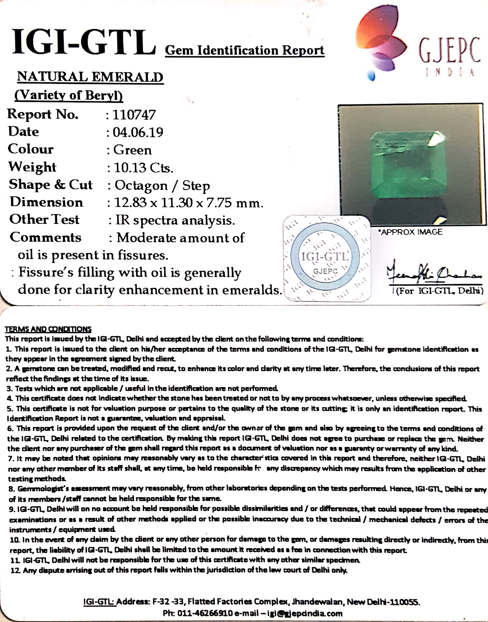 11.26 Ratti Natural Panna Stone With Govt. Lab Certified (56610)