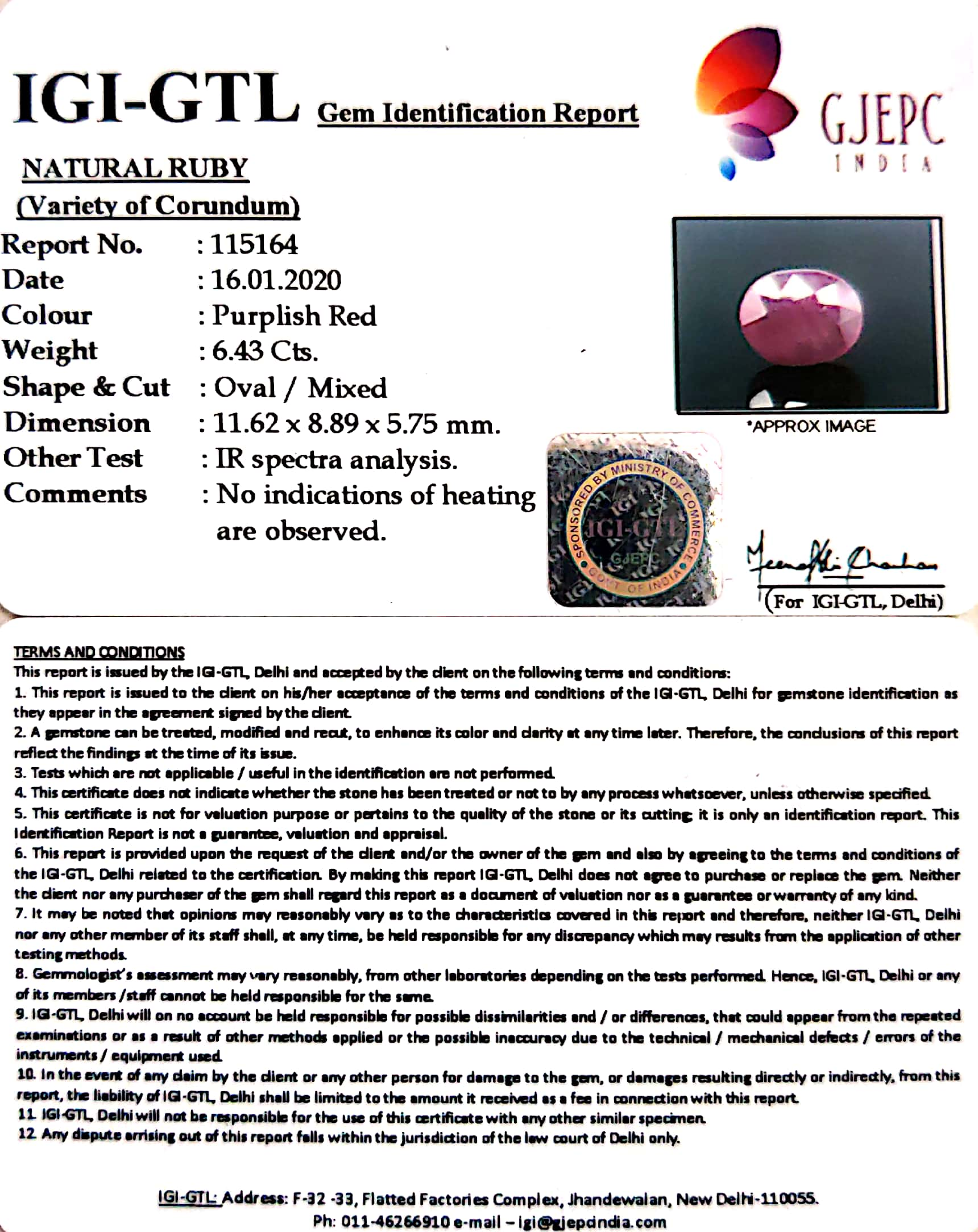 7.14 Ratti Natural Indian Ruby with Govt. Lab Certificate-(1221)