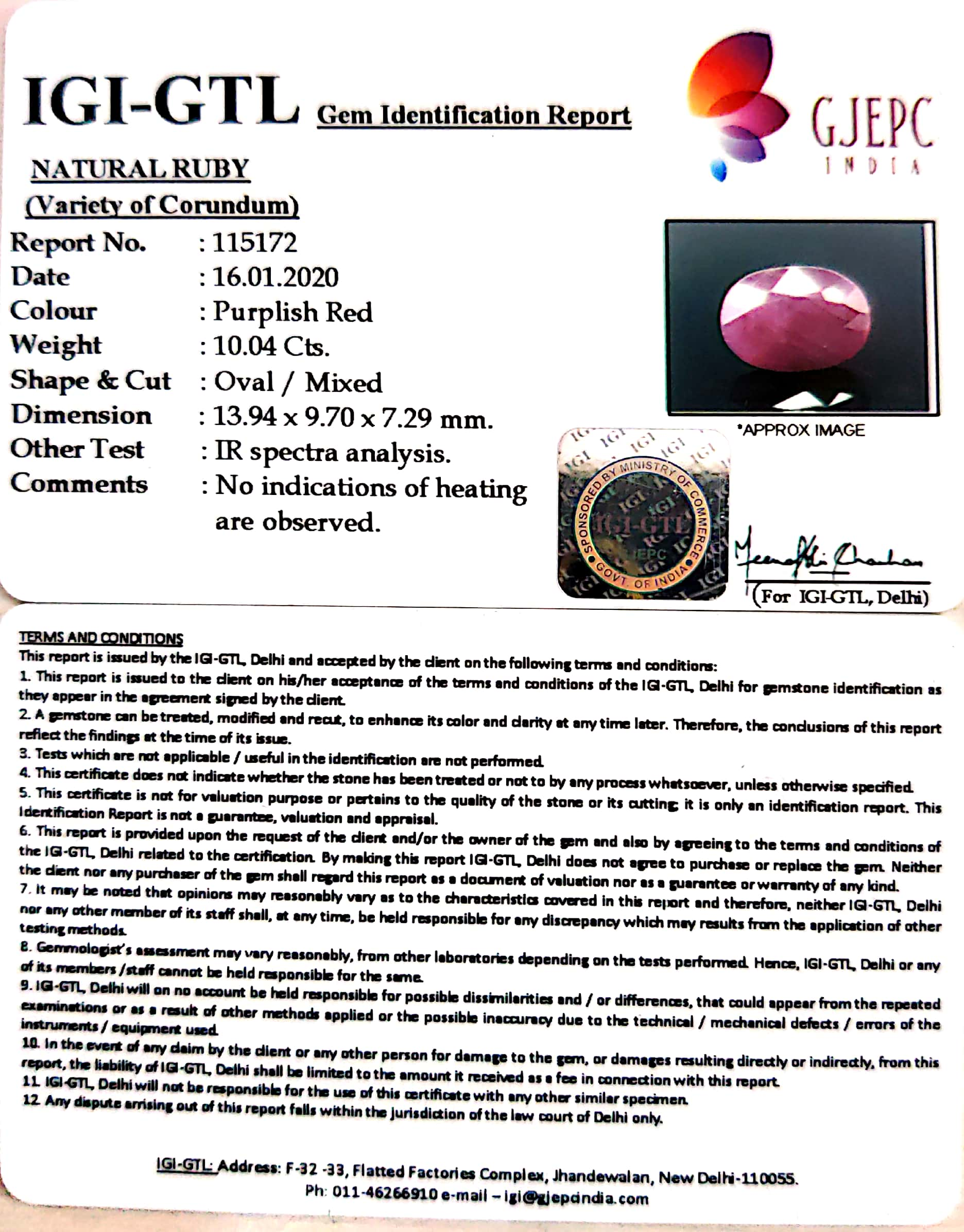 11.16 Ratti Natural New Burma Ruby with Govt. Lab Certificate-(3441)
