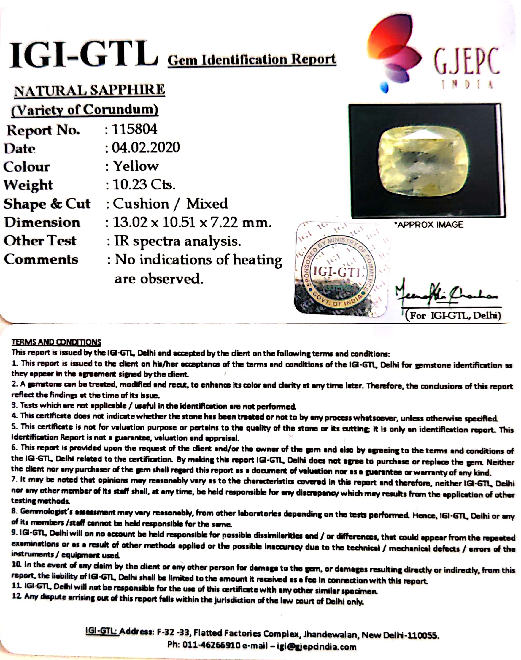 11.37 Ratti Natural Yellow Sapphire with Govt Lab Certificate-(12210)