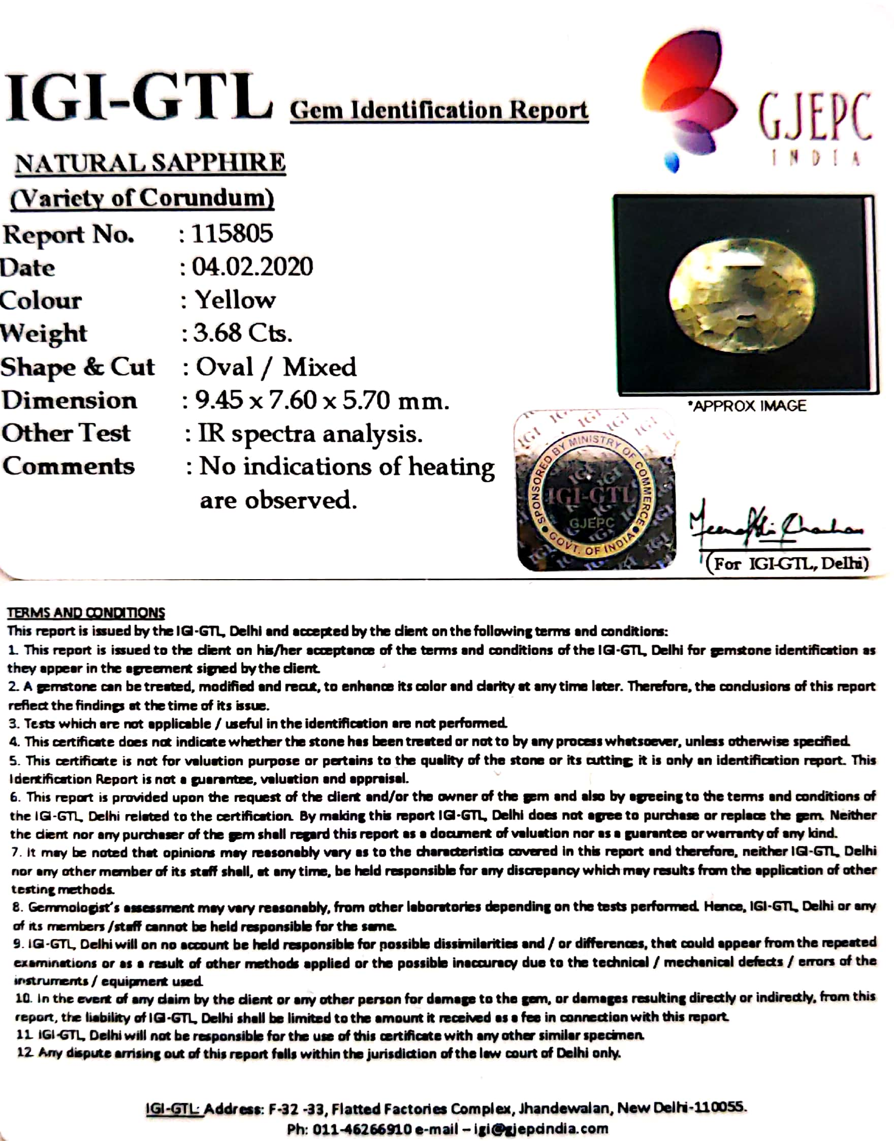 4.09 Ratti Natural Yellow Sapphire with Govt Lab Certificate-(23310)