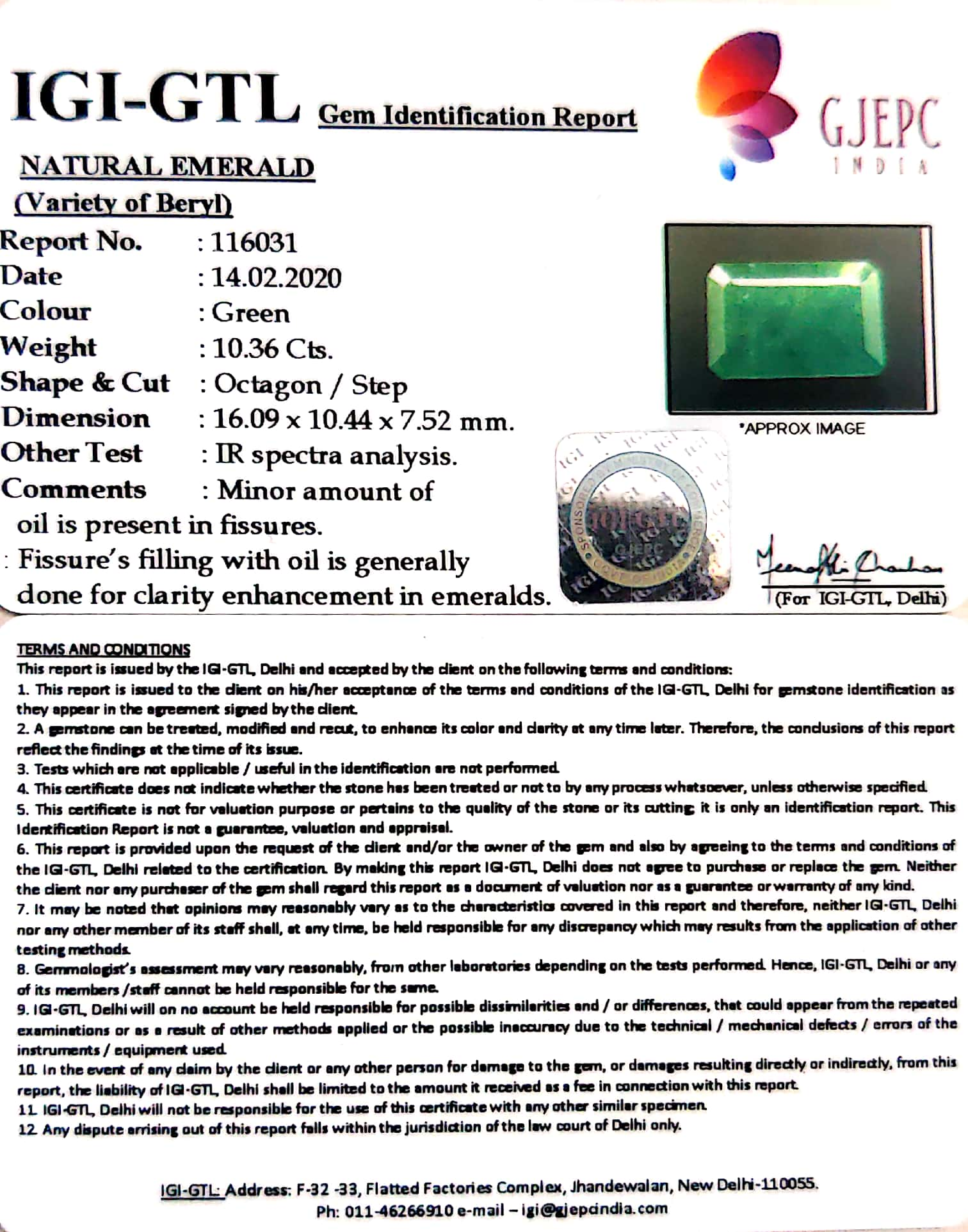 11.51 Ratti Natural Panna Stone with Govt. Lab Certified-(4551)
