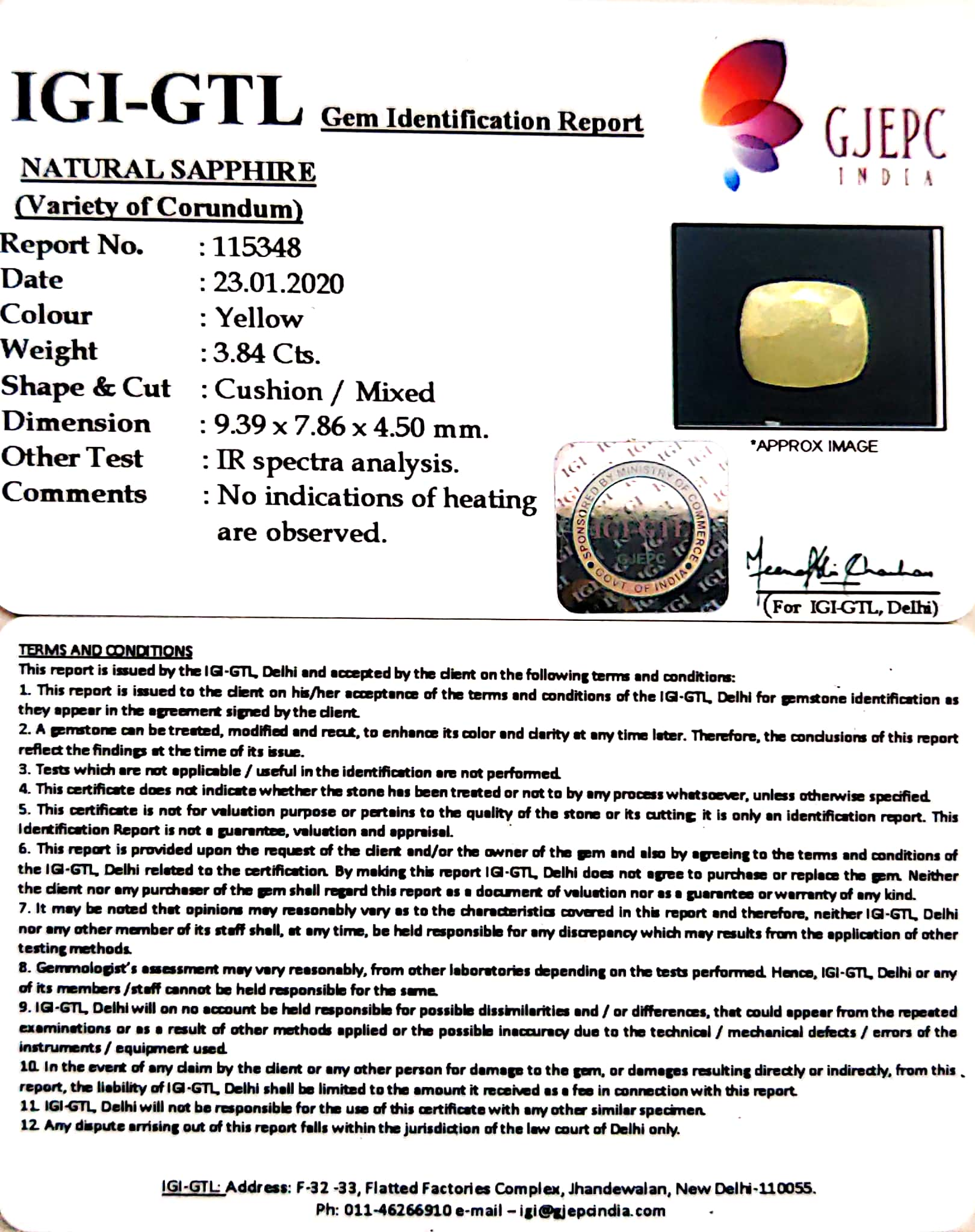 4.27 Ratti Natural Yellow Sapphire with Govt Lab Certificate-(4551)