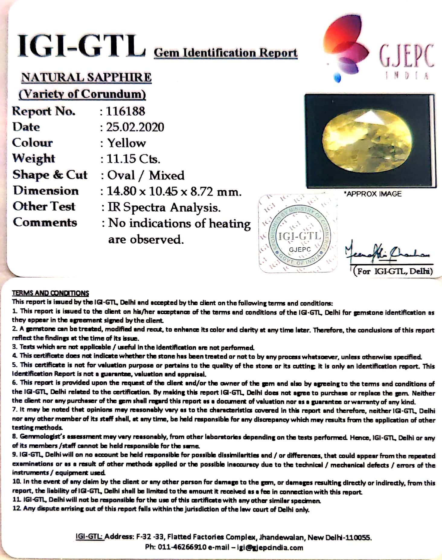 12.39 Ratti Natural Yellow Sapphire with Govt Lab Certificate-(34410)