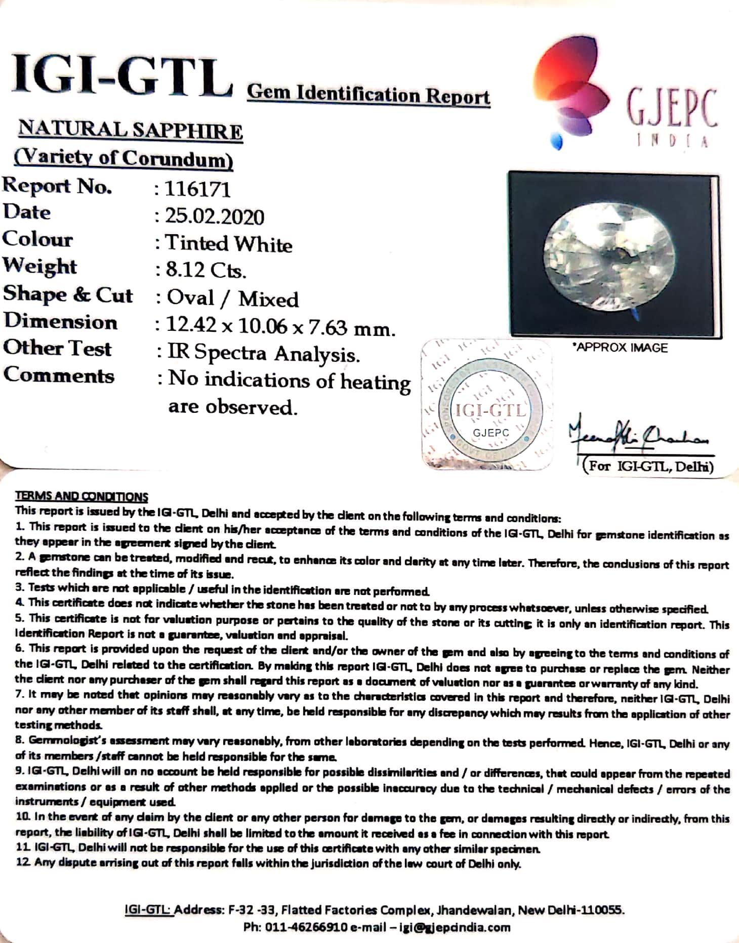 9.02 Ratti Natural White Sapphire with Govt Lab Certificate - (16650)
