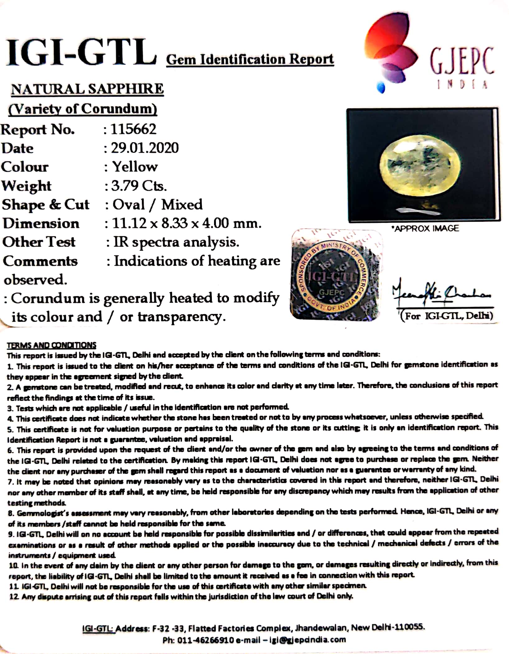 4.21 Ratti Natural Yellow Sapphire with Govt Lab Certificate-(6771)