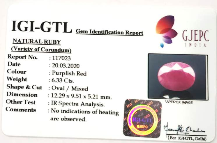 6.33 Carat Natural Indian Ruby with Govt. Lab Certificate-(1221)