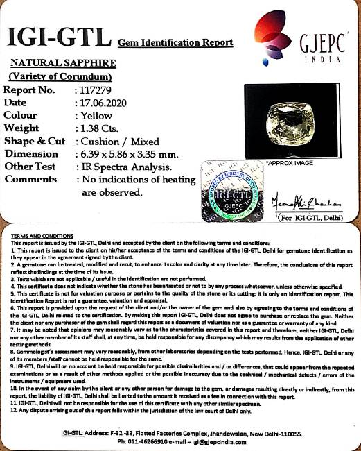 1.53 Ratti Natural Ceylonese Pukhraj Stone with Govt Lab Certificate-(16650)